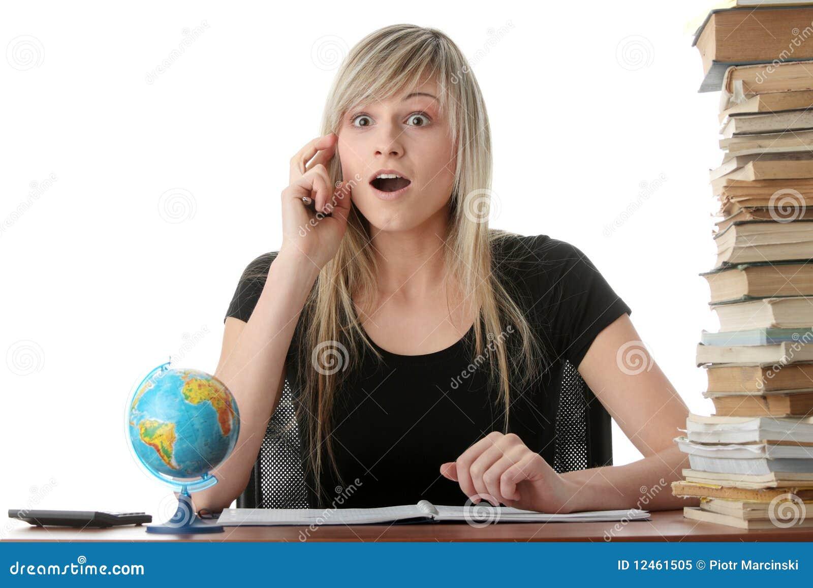 Het meisje van de tiener het leren stock afbeelding afbeelding 12461505 - Tiener meisje foto ...