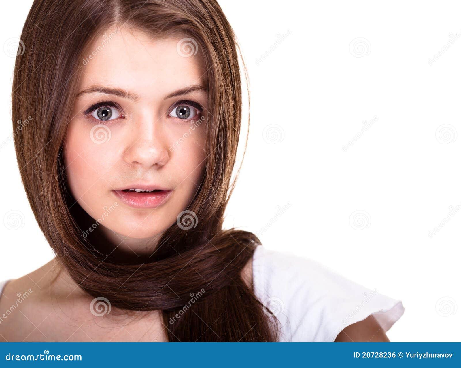 Het meisje van de tiener met lange haren en schone huid royalty vrije stock afbeelding - Tiener meubilair ruimte meisje ...