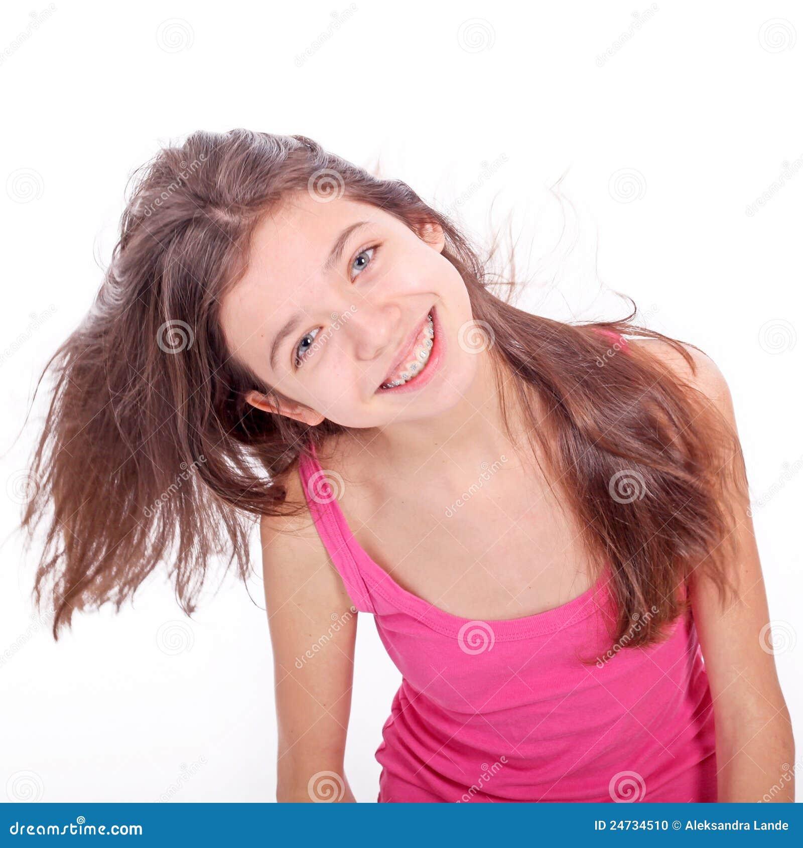 Het meisje van de tiener met steunen