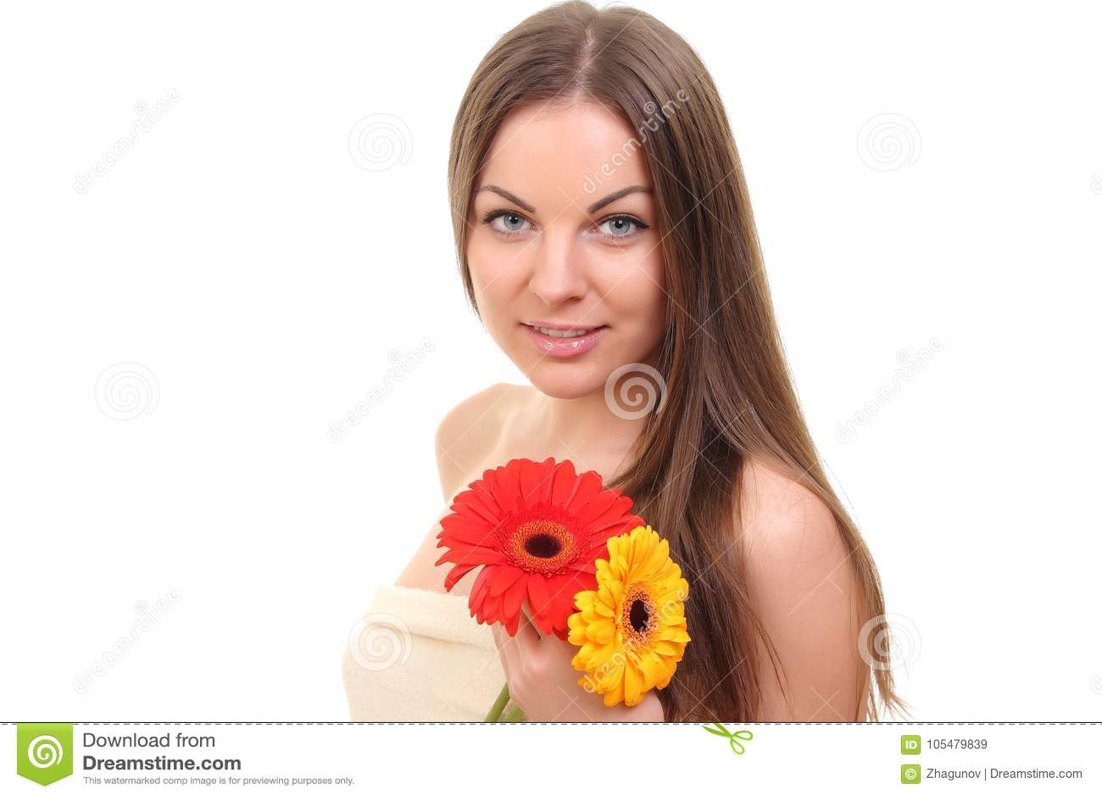 Het Meisje van het kuuroord met bloemen