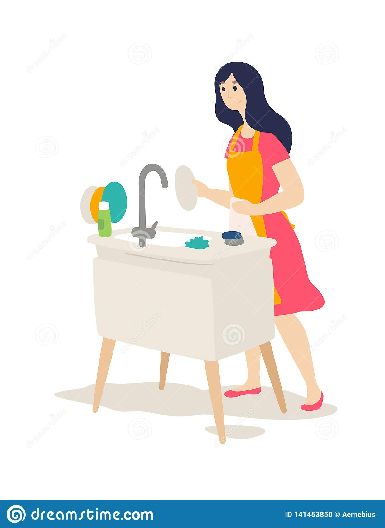 Het meisje wast de schotels Vector Vlakke beeldverhaalstijl De bewaarder van de haard doet huishoudelijk werk Een jonge vrouw vee