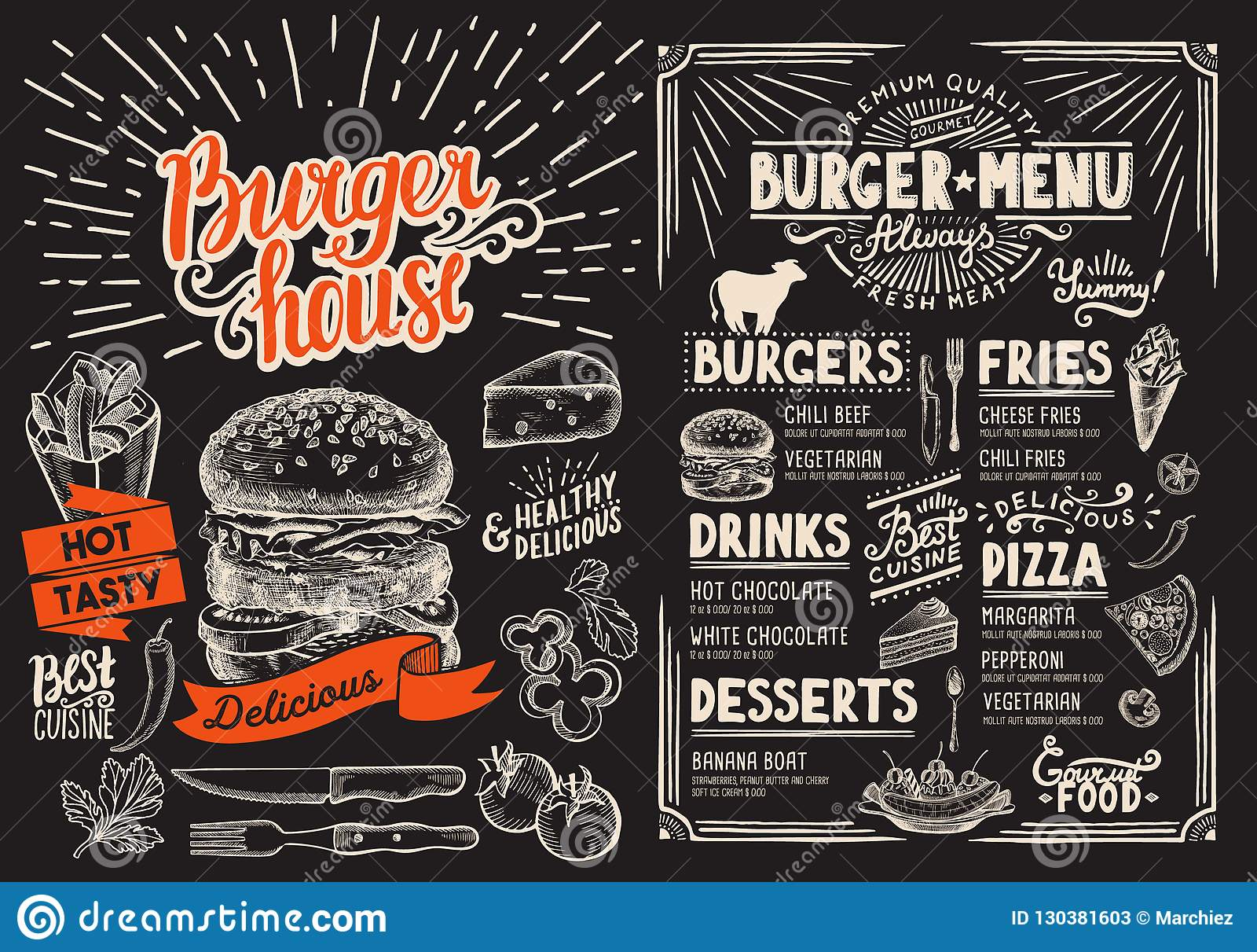 Het menu van het hamburgerrestaurant op bord Vectorvoedselvlieger voor bar