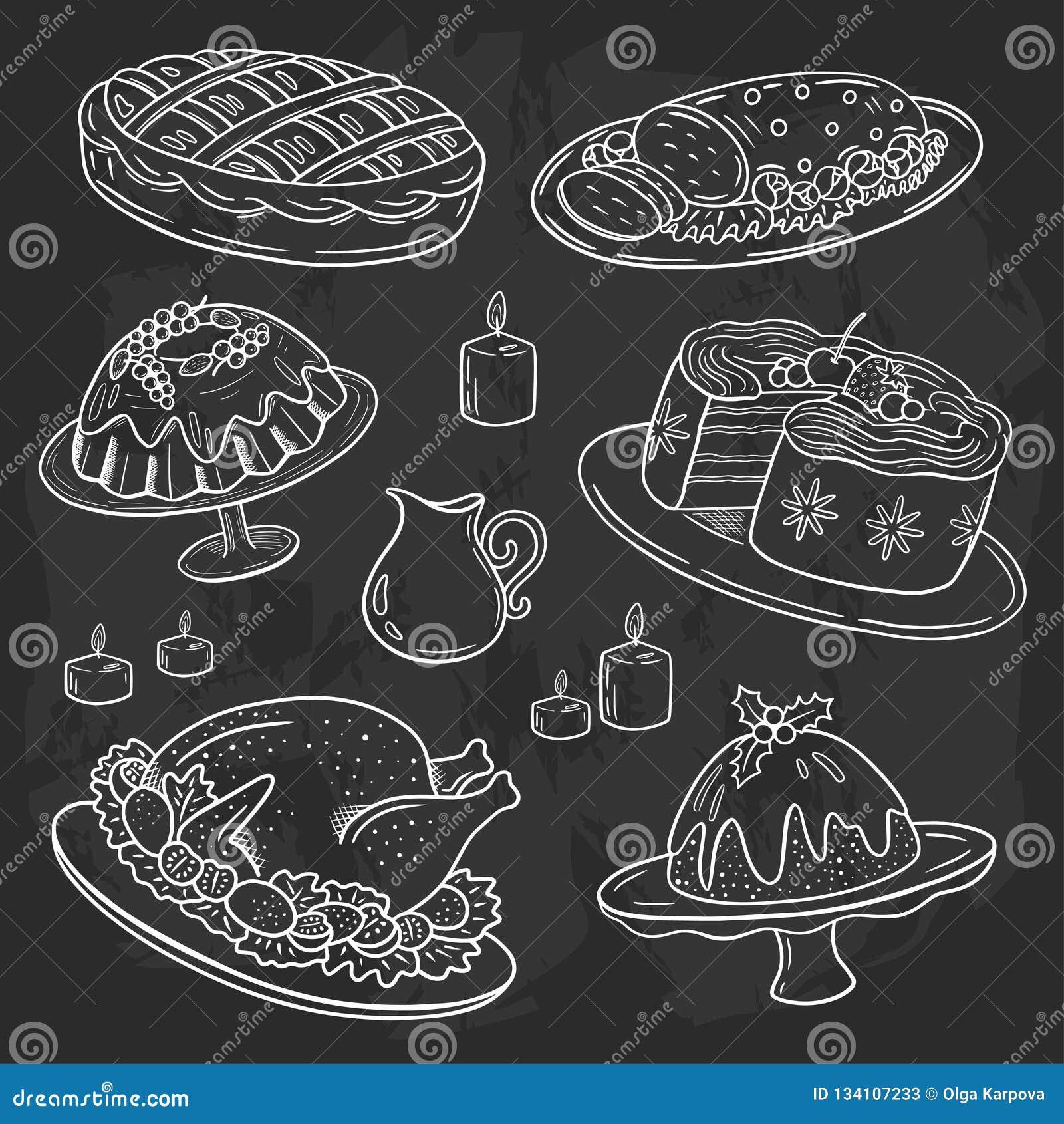 Het menu van het Kerstmisdiner, de krabbelstijl van de krijttekening, bordachtergrond