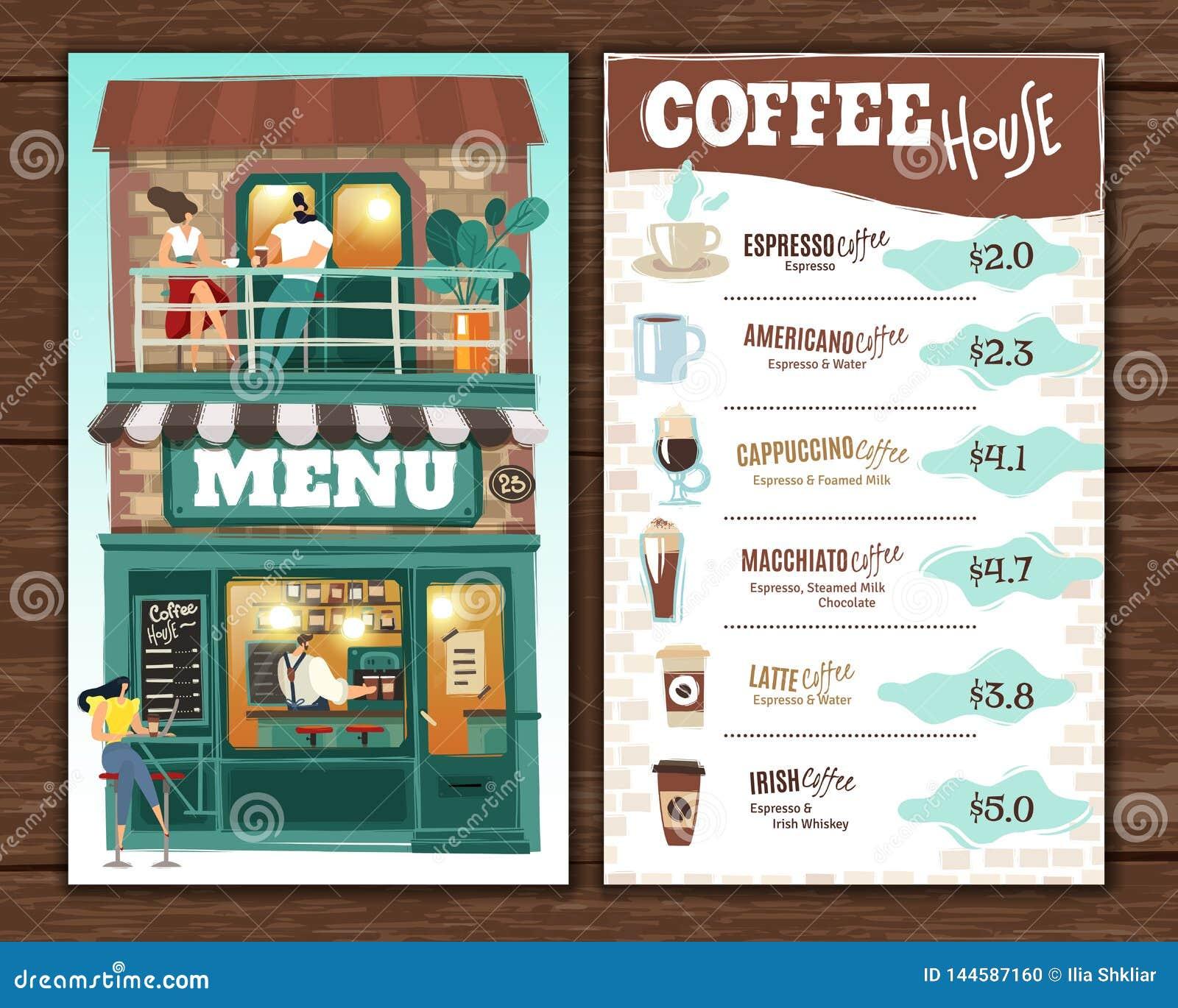Het menu van het koffiehuis E
