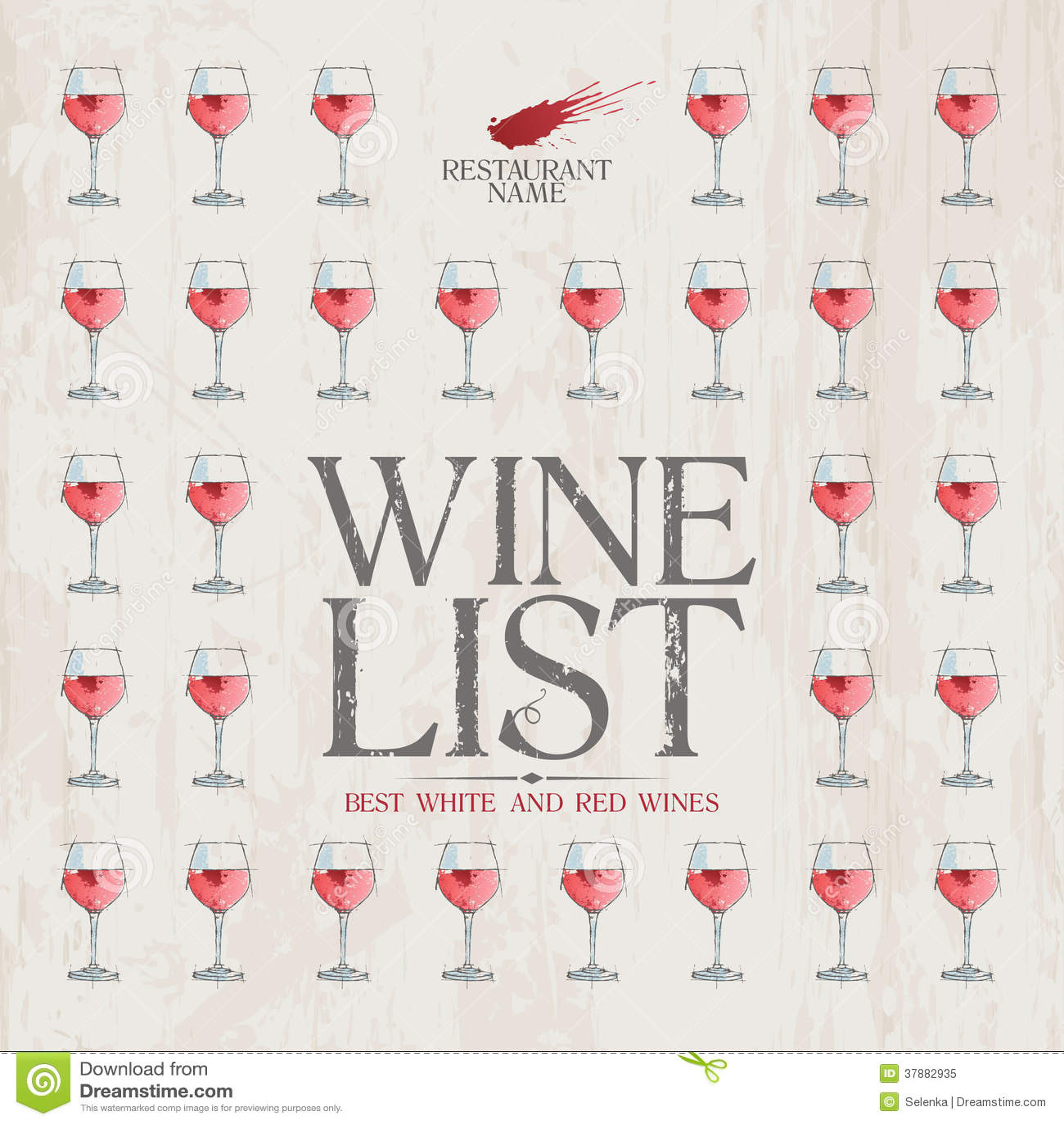 Het Menumalplaatje van de wijnlijst.