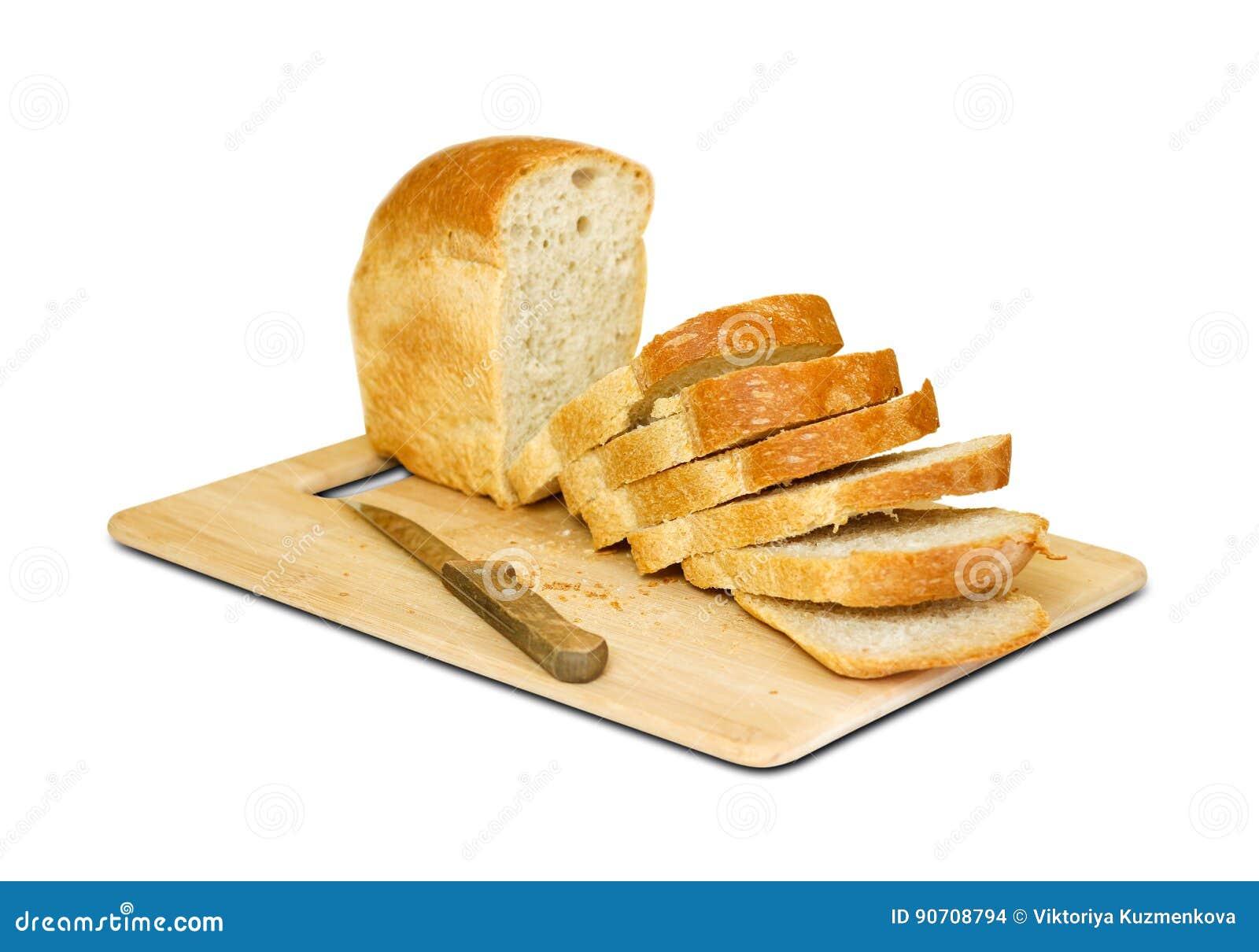Het mes sneed Gouden brood Geïsoleerdj op witte achtergrond