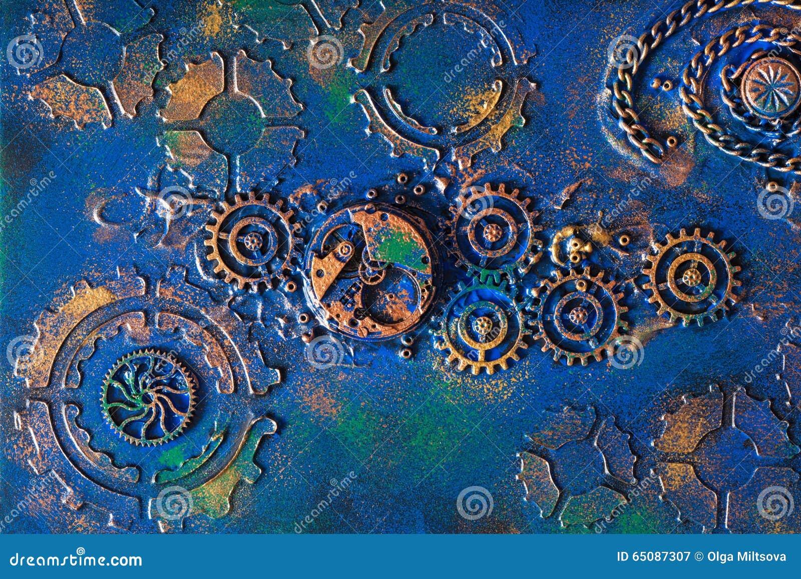 Het met de hand gemaakte uurwerk steampunk van achtergrond mechanische radertjeswielen