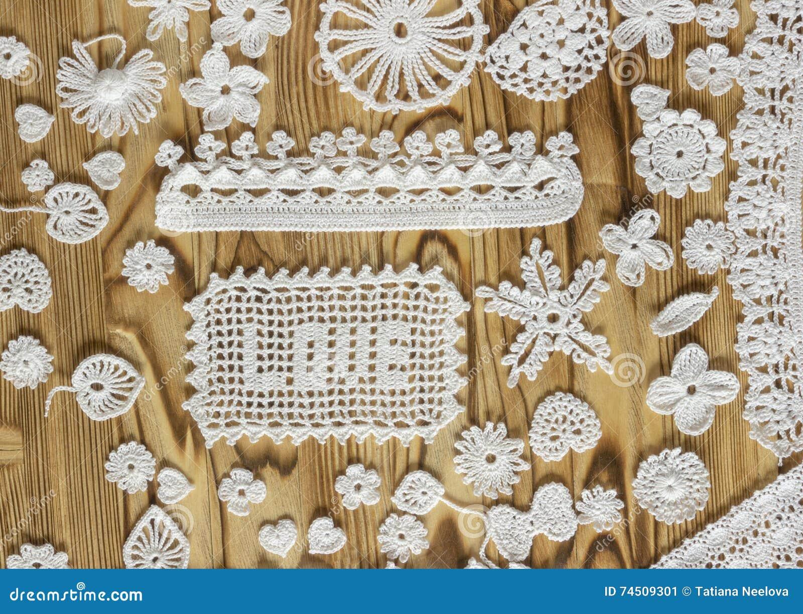 Het Met De Hand Gemaakte Wit Haakt Kaderpatroon Het Breien Het