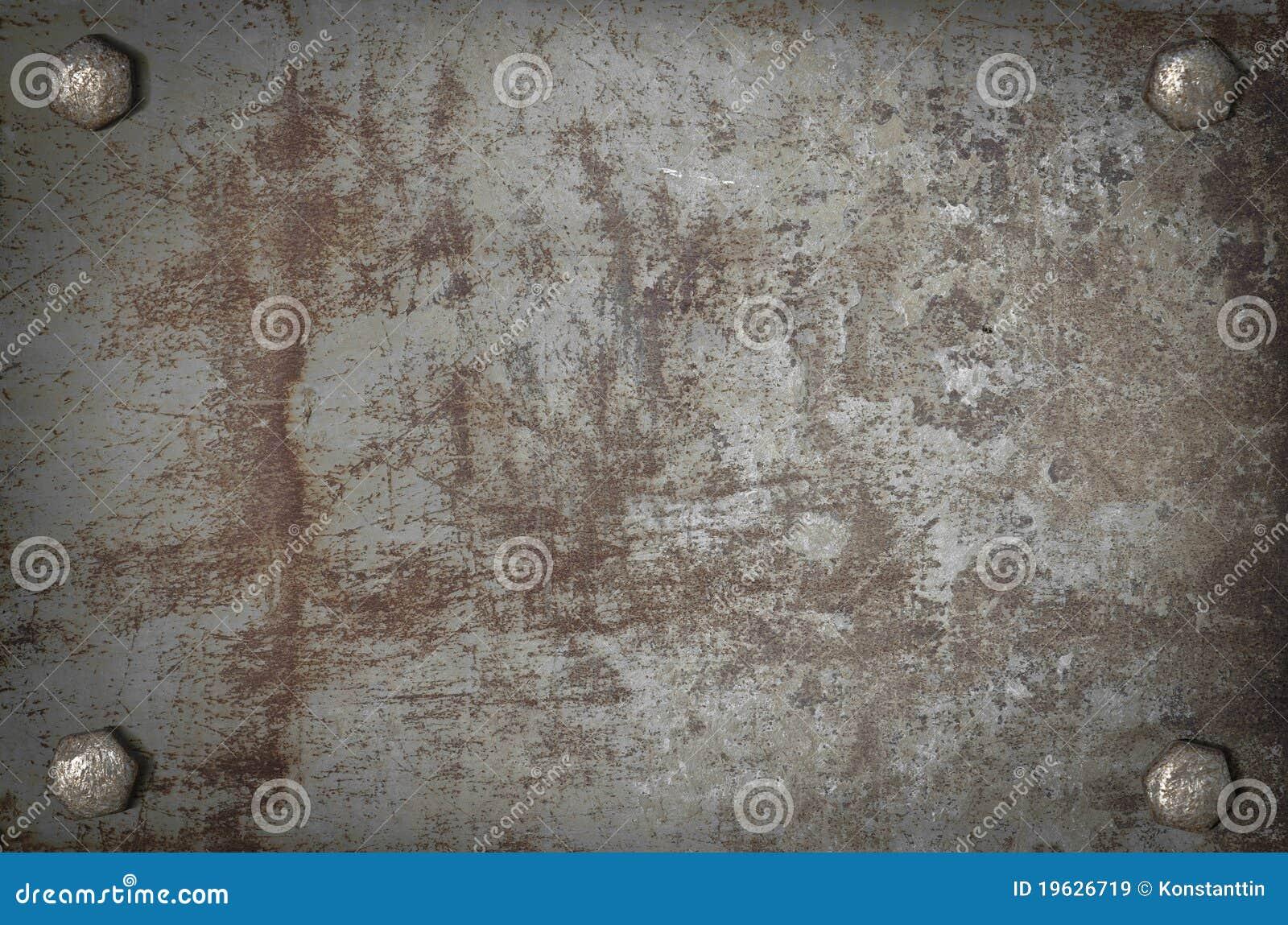 Het metaalplaat van de kunst grunge met schroeven