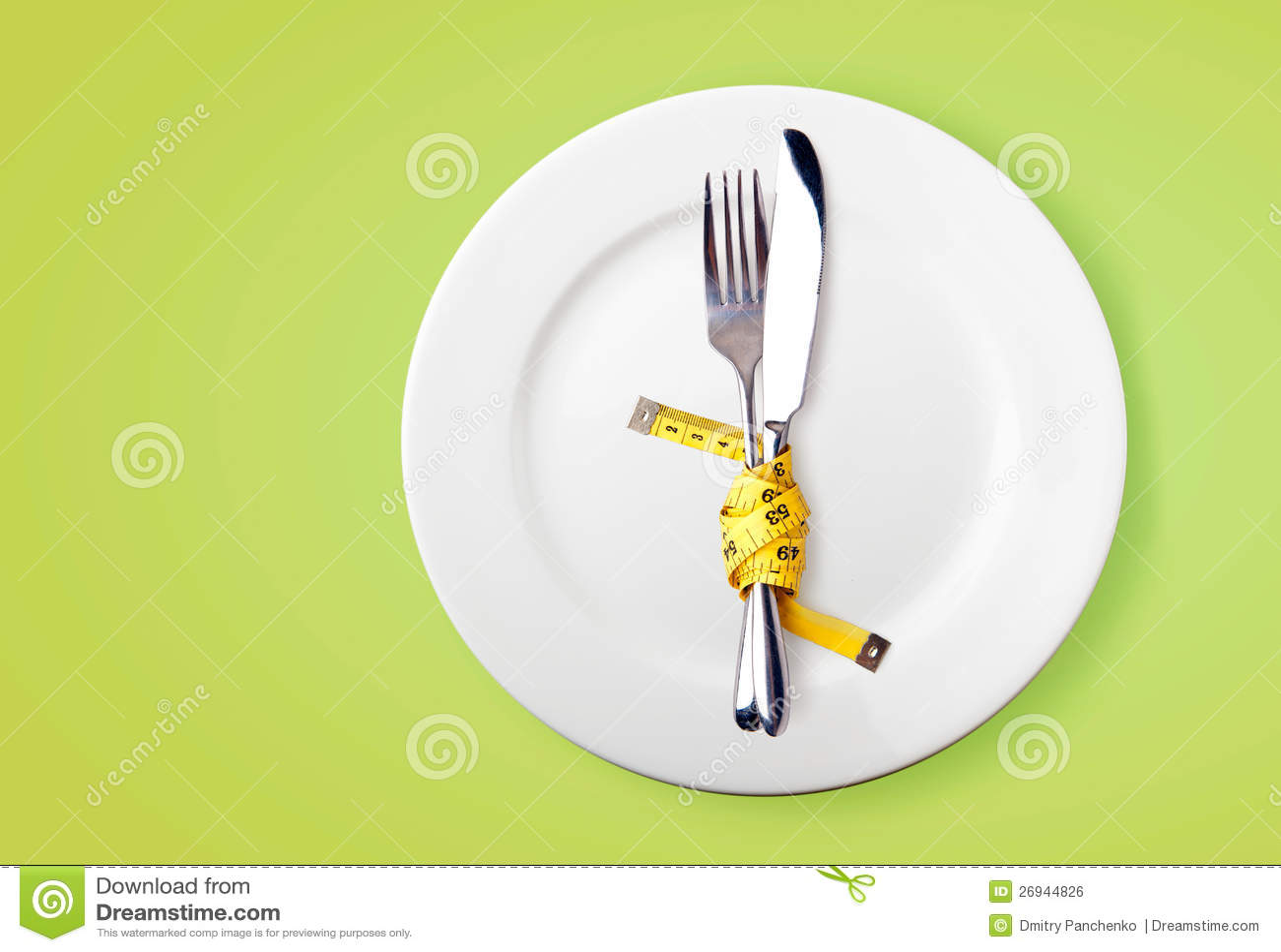 Het meten van band op een vork en een mes