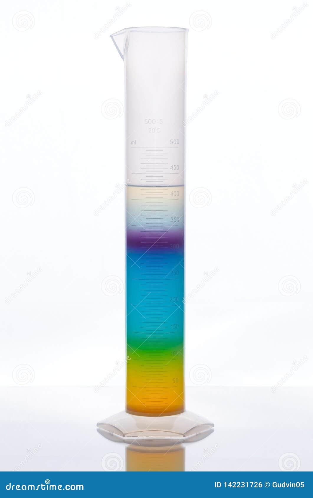 Het meten van buis met veelkleurige vloeistof