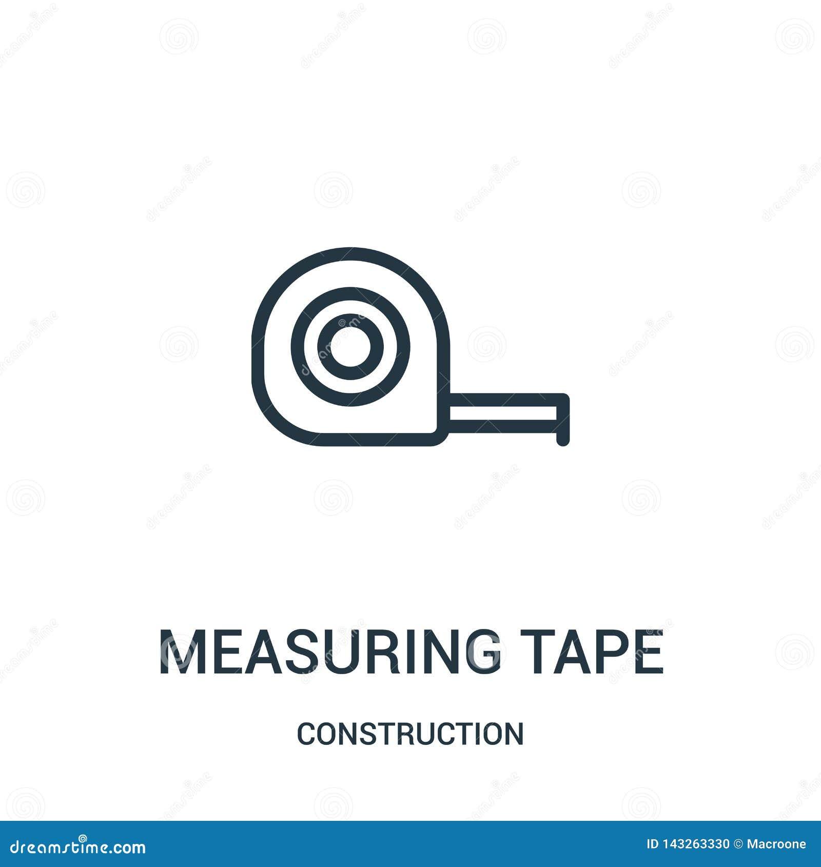 Het meten van de vector van het bandpictogram van bouwinzameling Dunne lijn die het pictogram vectorillustratie meten van het ban