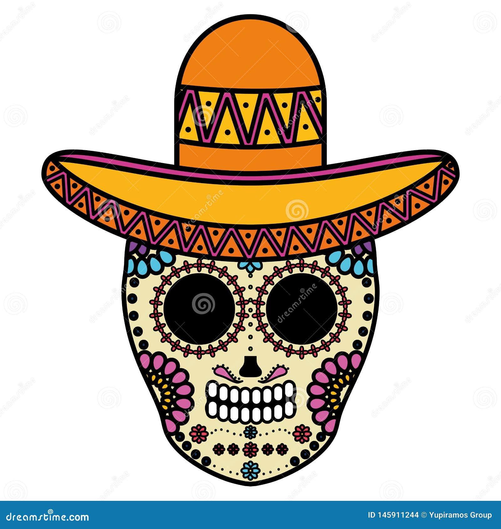 Het Mexicaanse masker van de schedeldood met mariachihoed