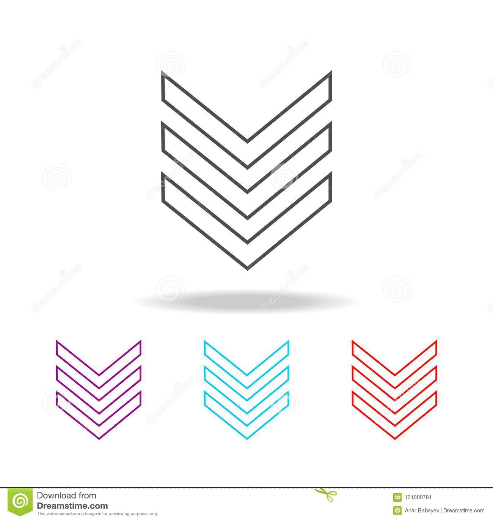 Het militaire pictogram van de embleem weelderige lijn Elementen van militair in multi gekleurde pictogrammen Grafisch het ontwer