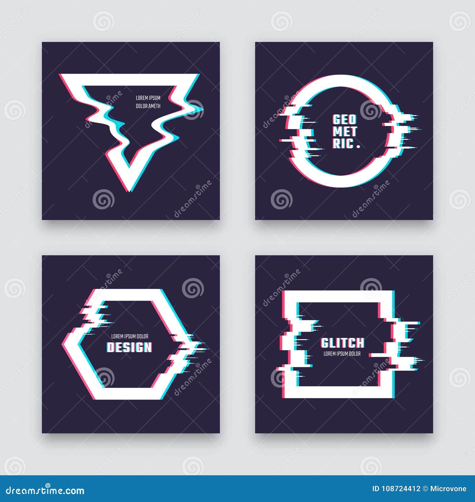Het in minimalistische abstracte vectorontwerp met glitched geometrische vormen De afficheinzameling van het merkbeeld