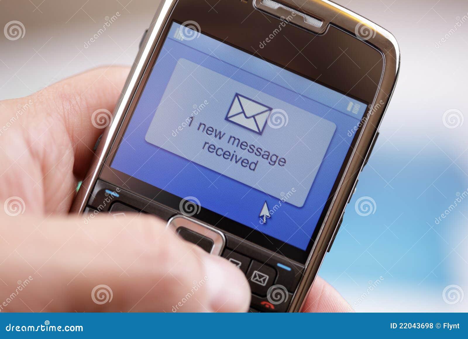 Het mobiele bericht van de telefoontekst of e-mail