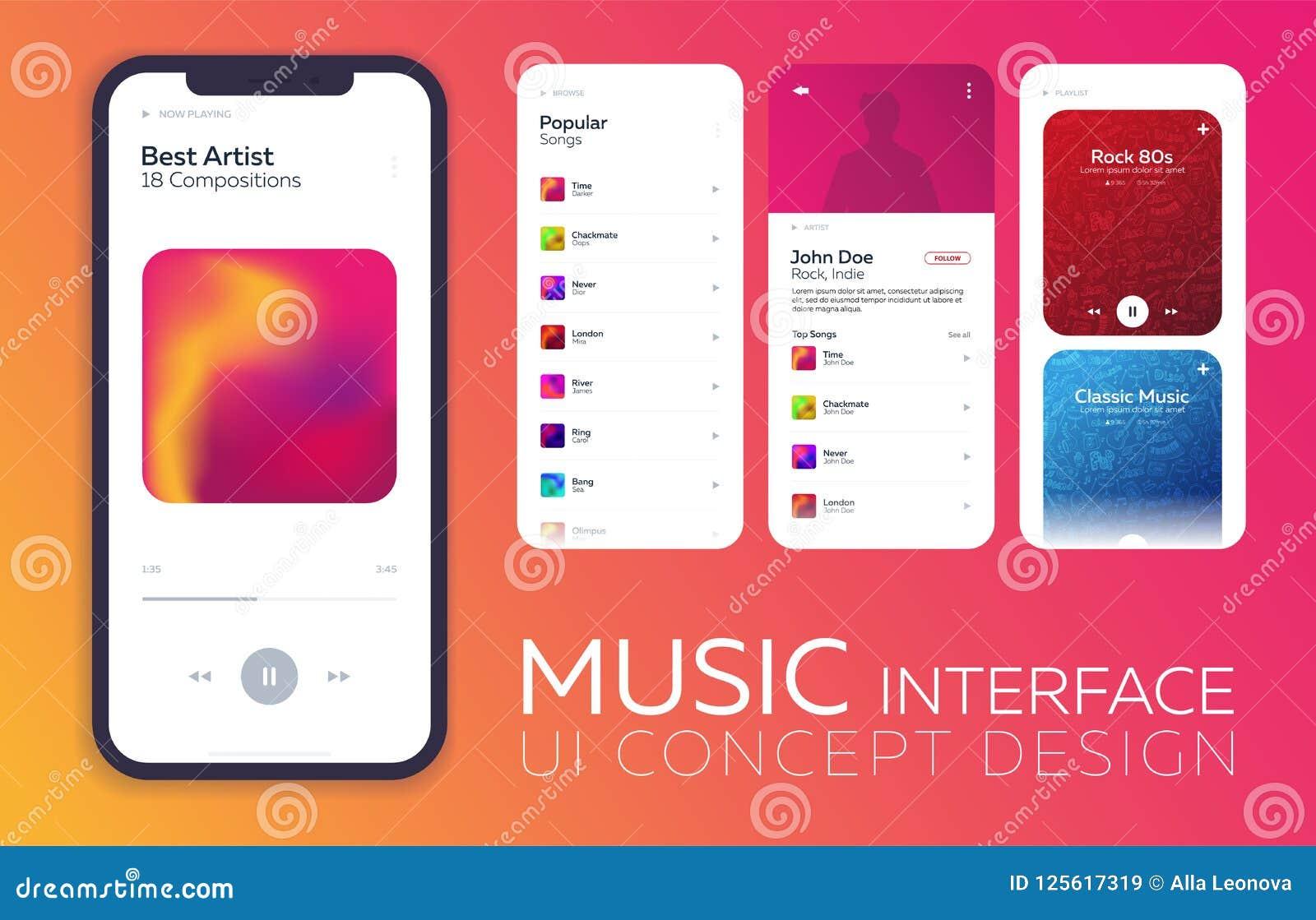 Het mobiele concept van het uiontwerp De Interface van de muziekspeler Vector illustratie