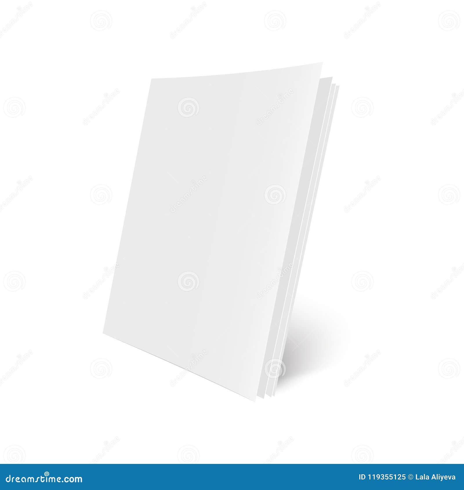 Het model opende tijdschrift, dagboek, boekje, prentbriefkaar, vlieger, adreskaartje of brochure Vector illustratie