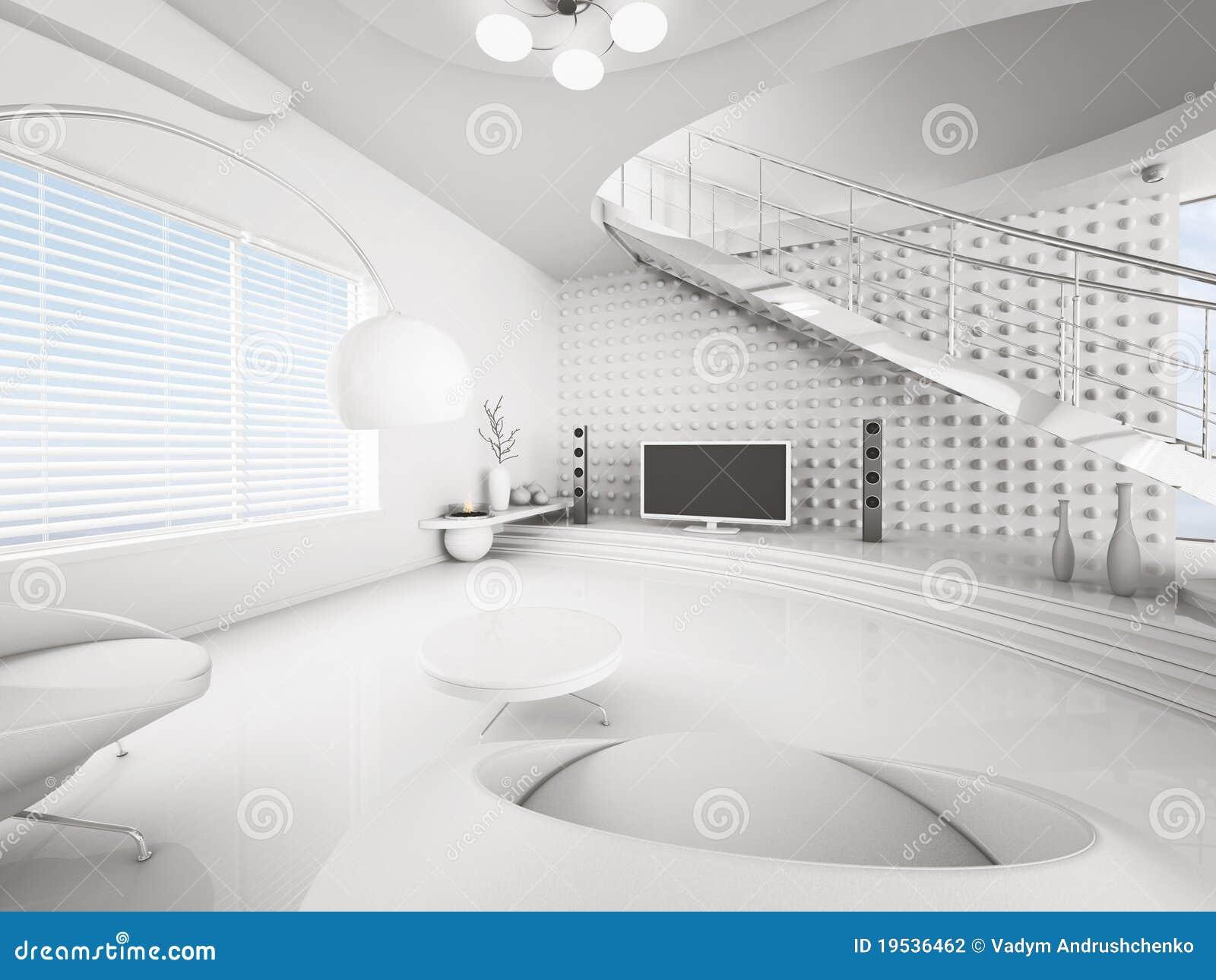 Het moderne 3d binnenland van witte woonkamer geeft terug stock illustratie afbeelding 19536462 - Foto van moderne woonkamer ...