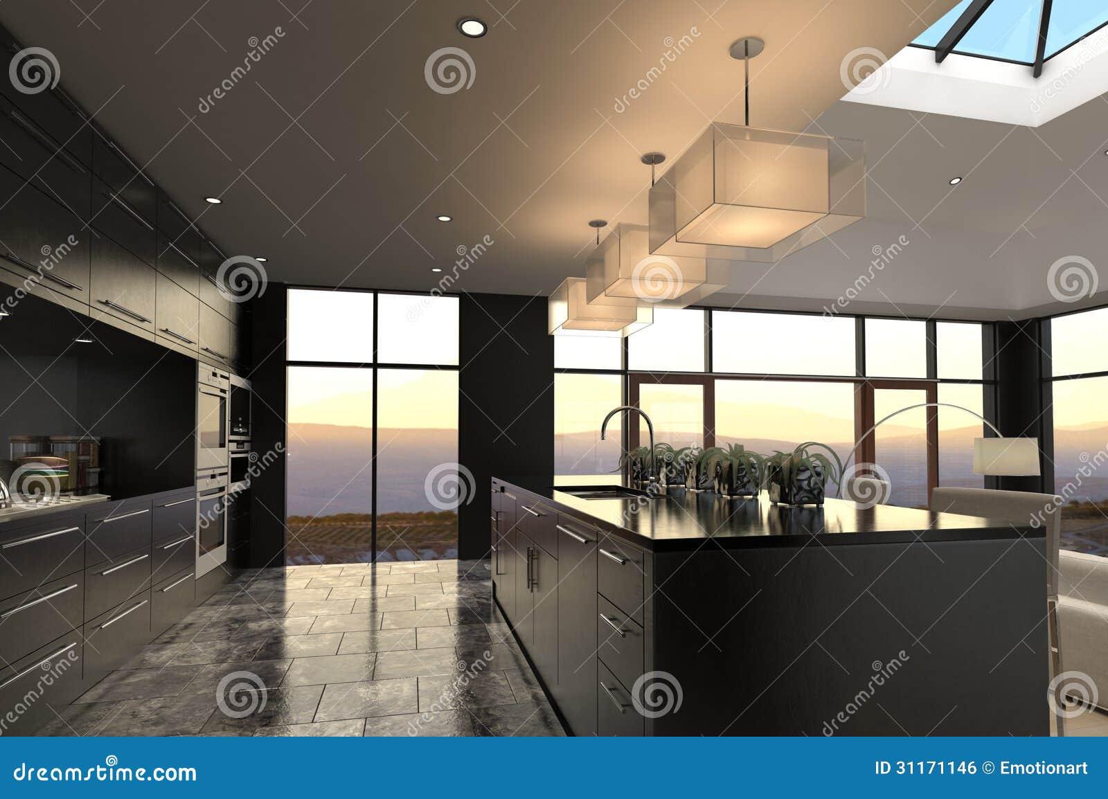 Het Moderne Binnenland Van De Ontwerp Luxueuze Keuken Royalty ...