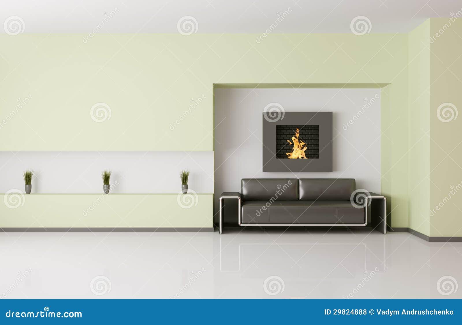 Het moderne binnenland met 3d open haard geeft terug stock illustratie afbeelding 29824888 - Deco moderne open haard ...