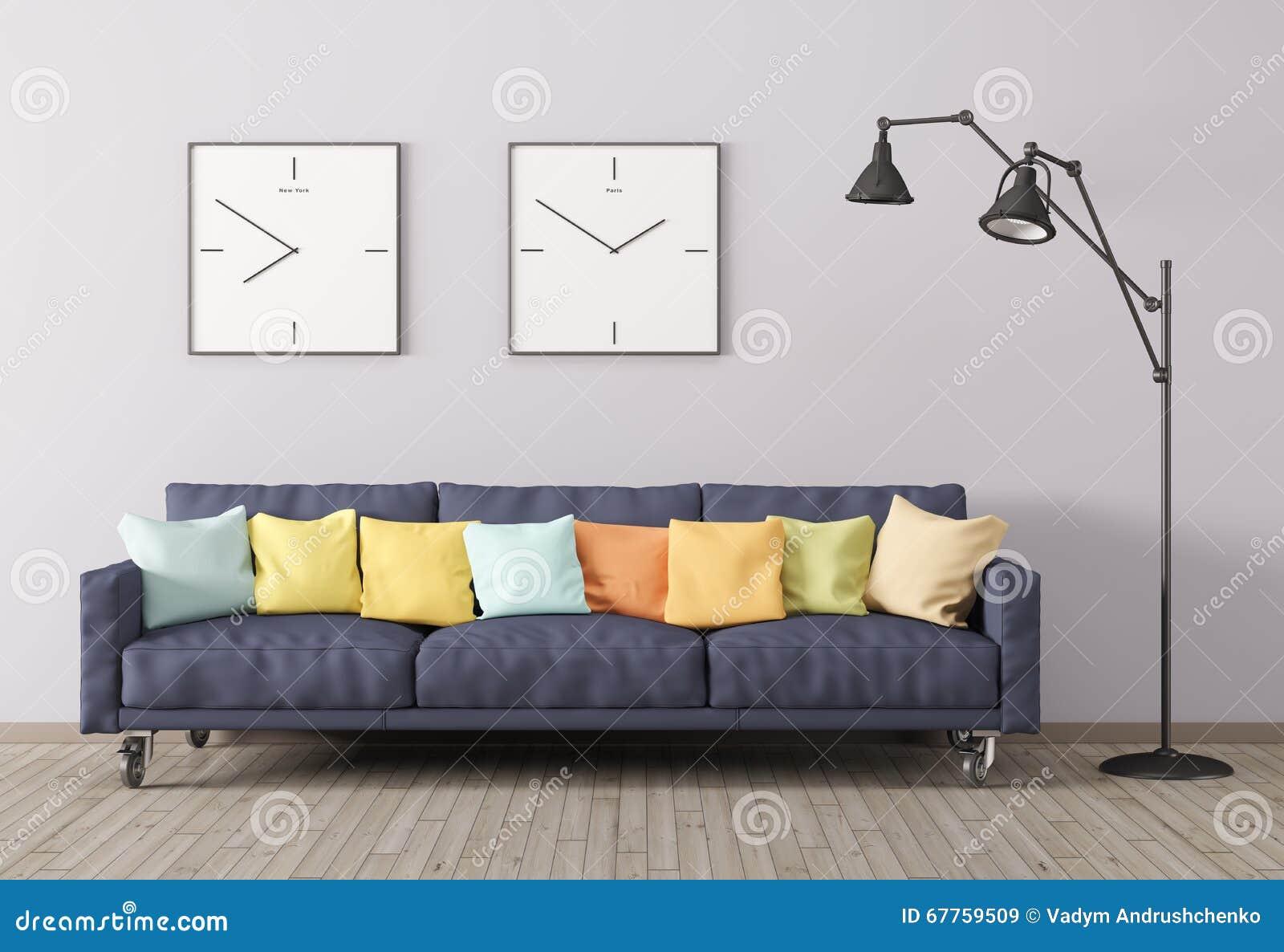 Het moderne binnenland van woonkamer met bank en 3d de staande lamp