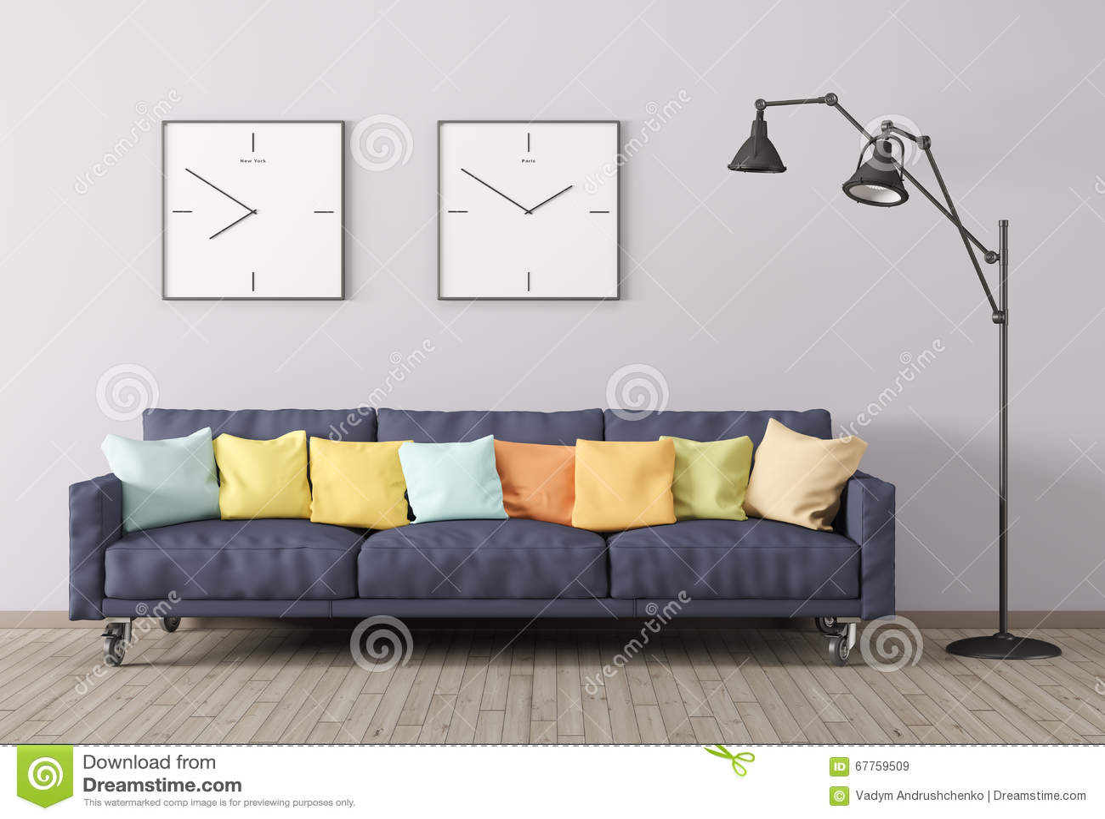 Woonkamer Staande Lamp : Het moderne binnenland van woonkamer met bank en d de staande