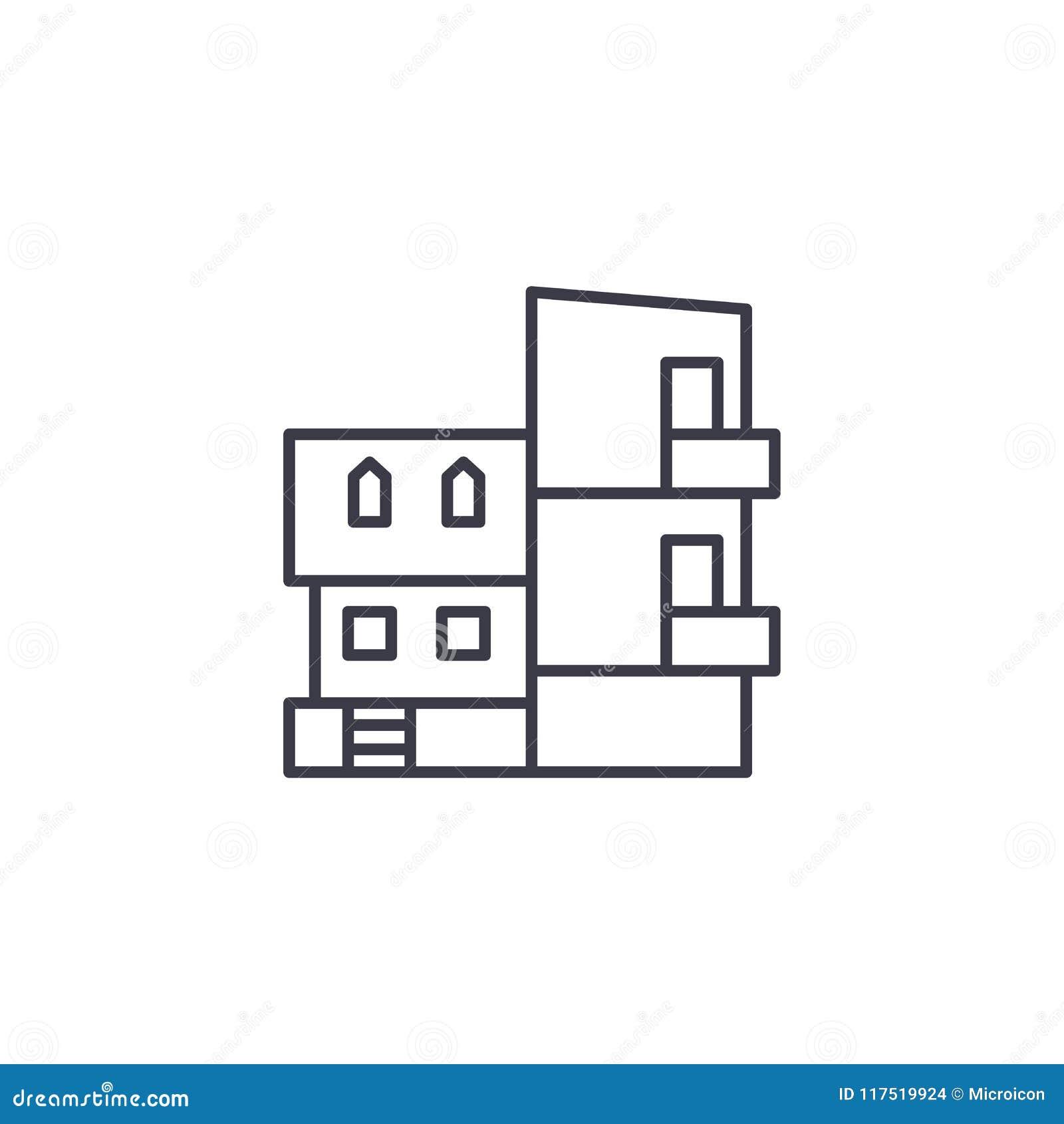 Het moderne concept van het Villa lineaire pictogram Het moderne vectorteken van de Villalijn, symbool, illustratie