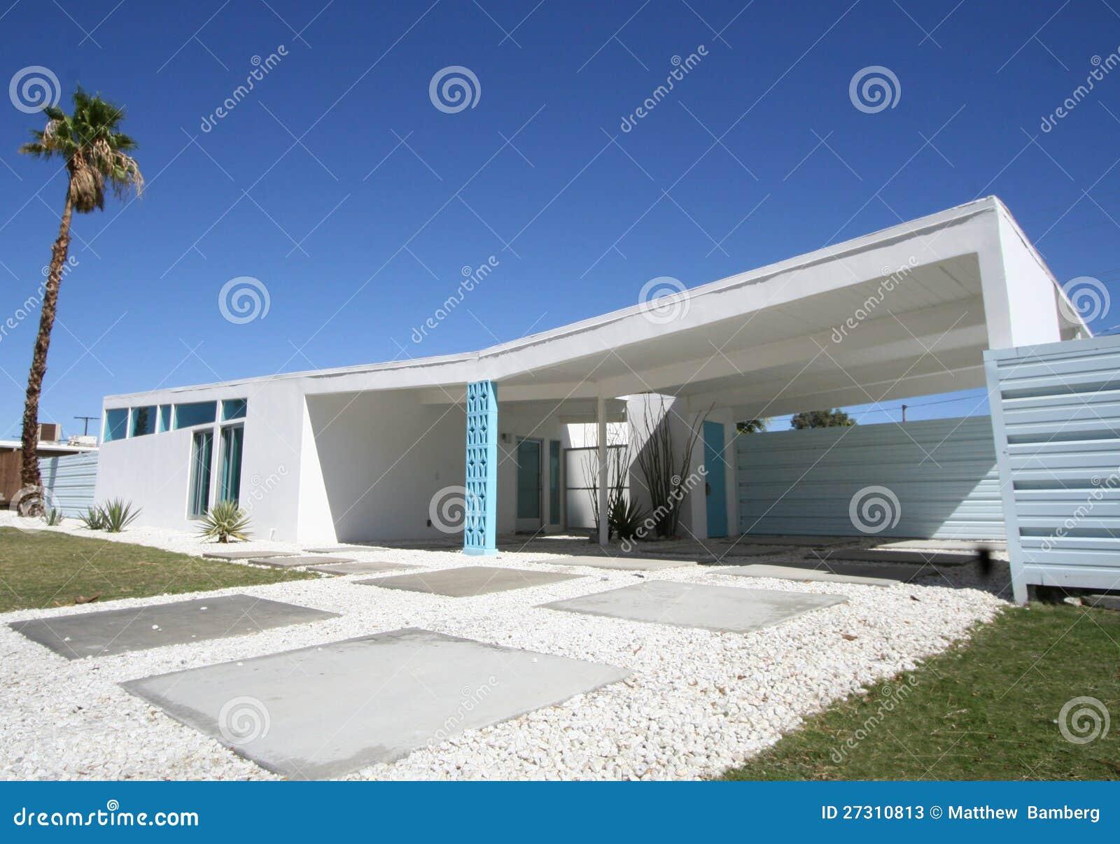 Het moderne huis van het midden van de eeuw stock afbeelding afbeelding 27310813 - Huis van de cabriolet ...