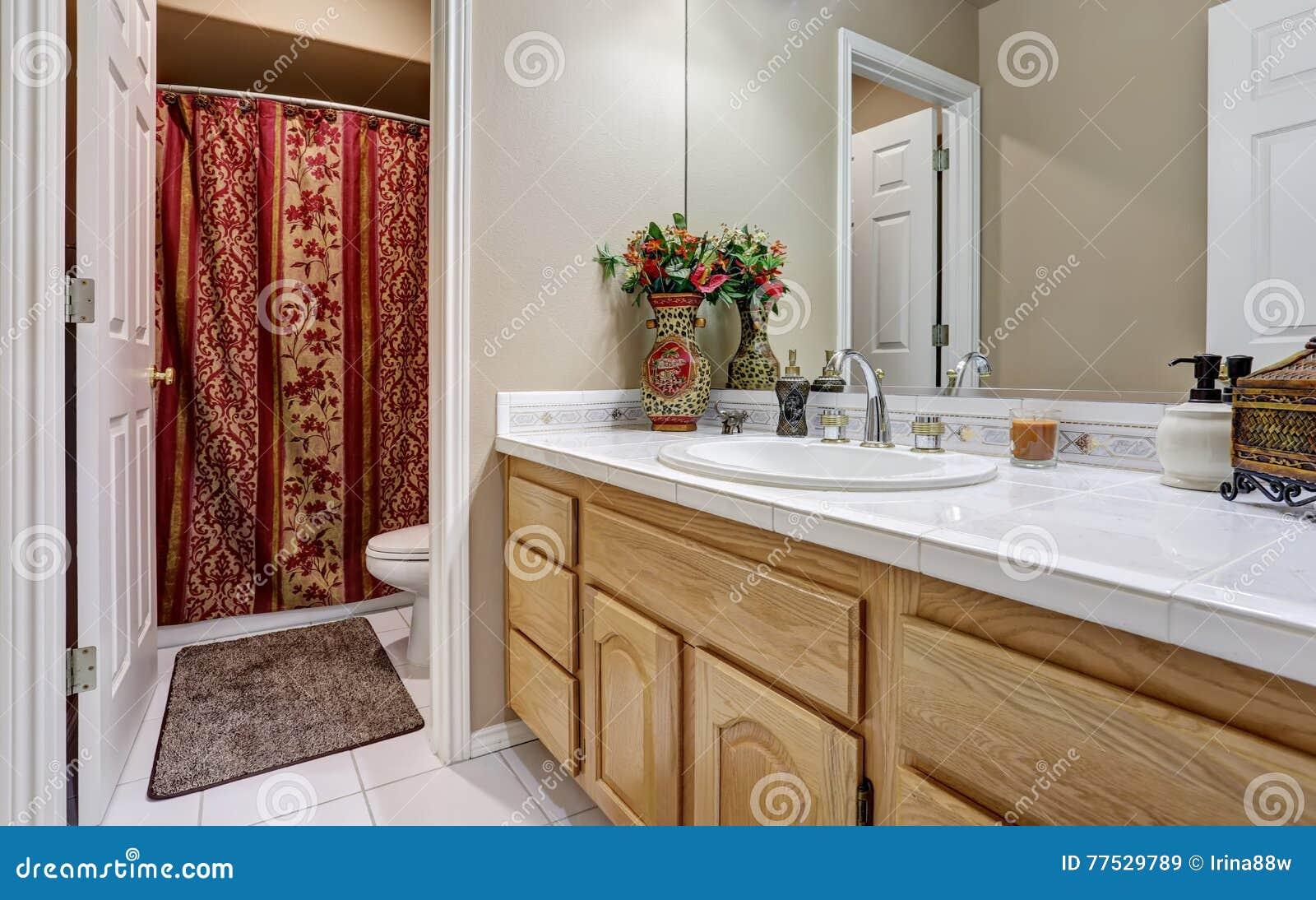 Het moderne kabinet van de badkamersijdelheid met grote spiegel