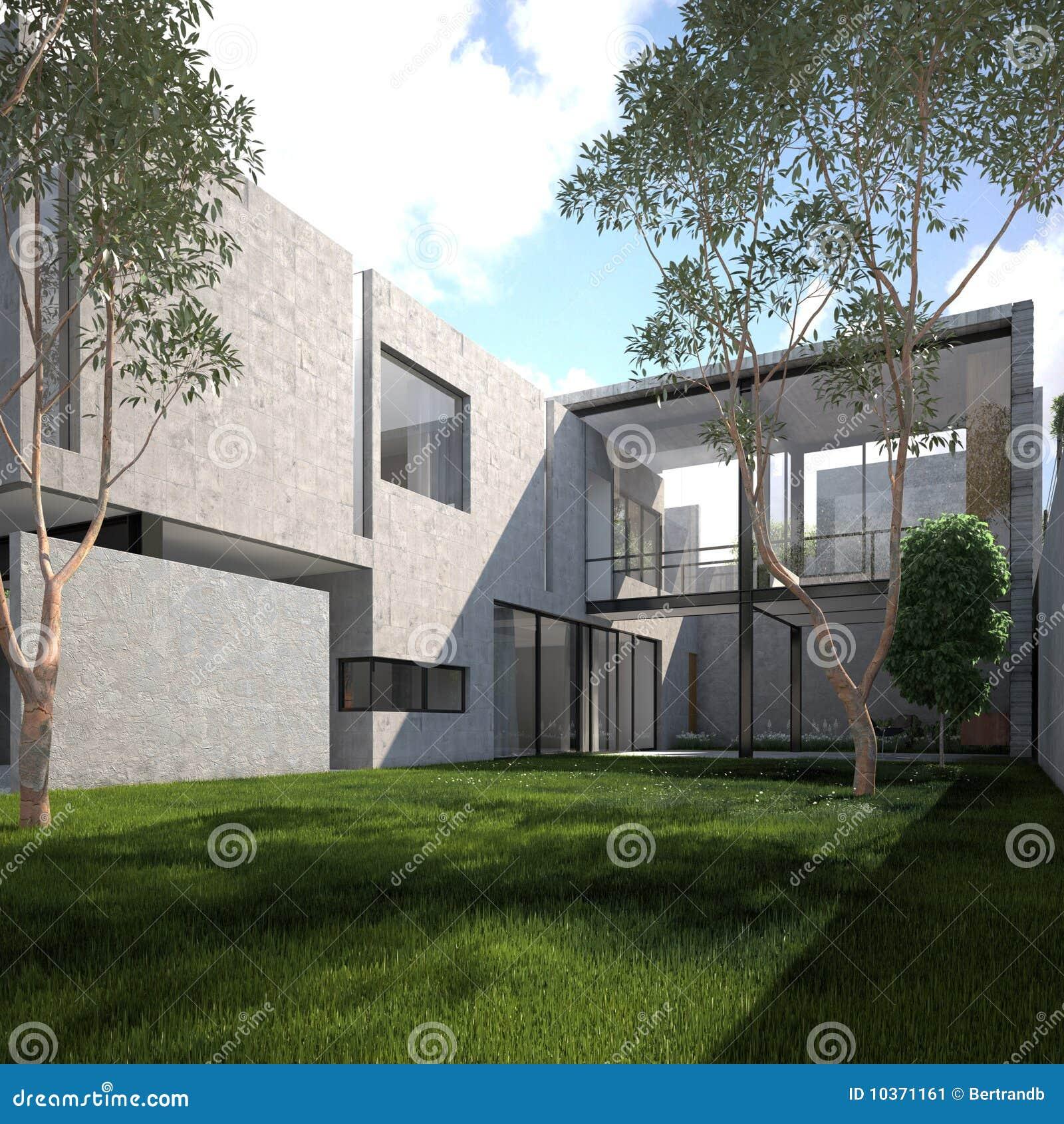 Het moderne minimalistische huis van de zomer stock illustratie afbeelding 10371161 - Eigentijds huis grijs ...