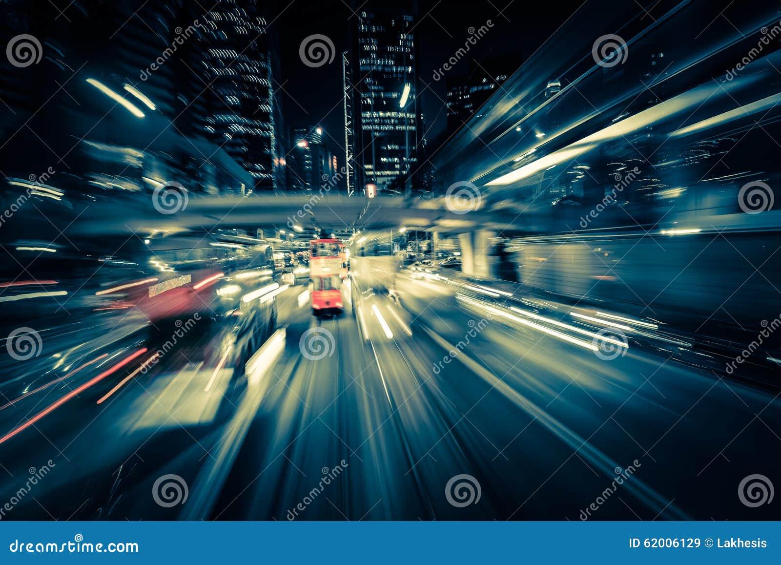 Het moderne onduidelijke beeld van de stadsmotie Hon Kong Abstract cityscape verkeer