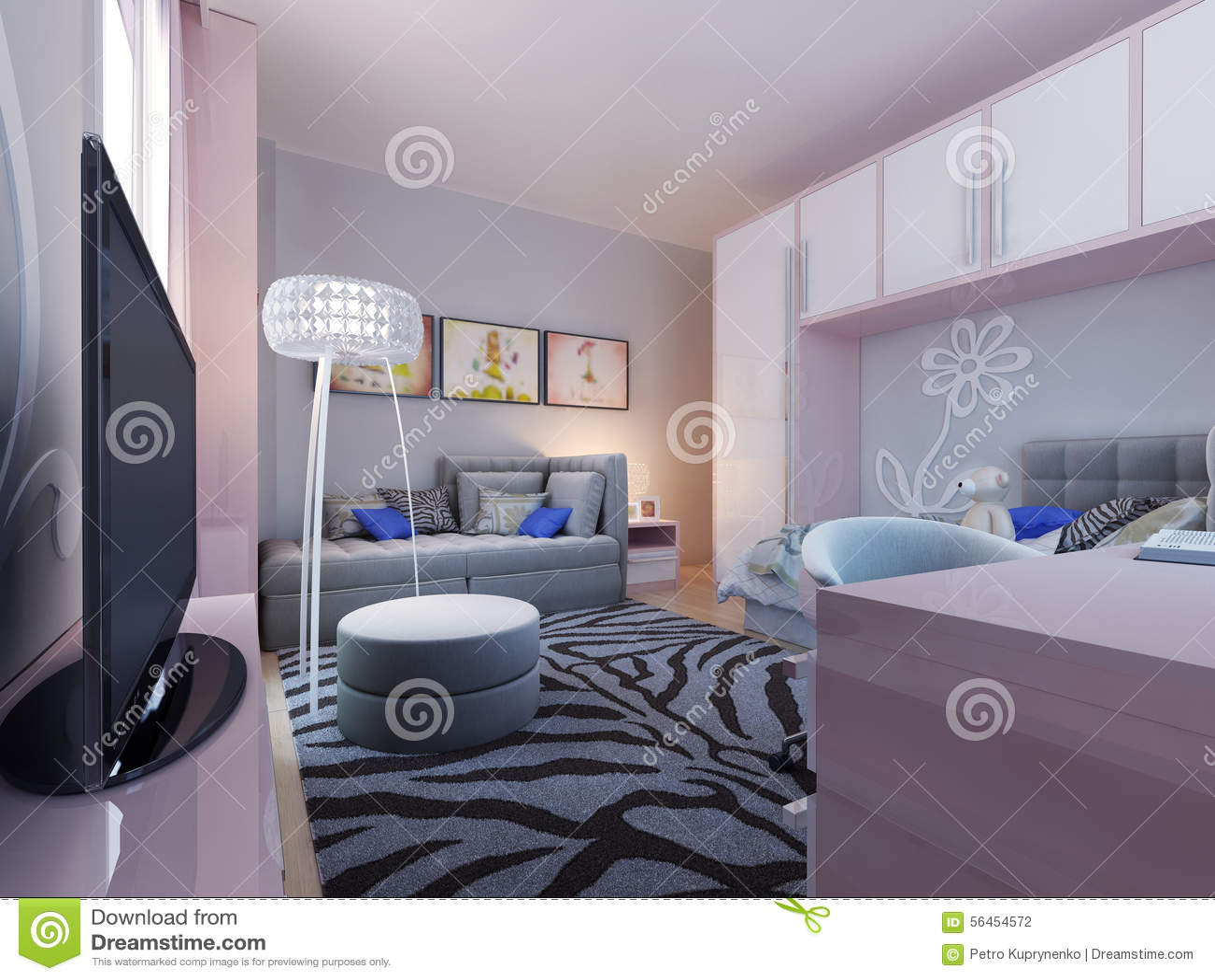Het moderne ontwerp van de tienerslaapkamer stock foto afbeelding 56454572 - Tiener slaapkamer stijl ...