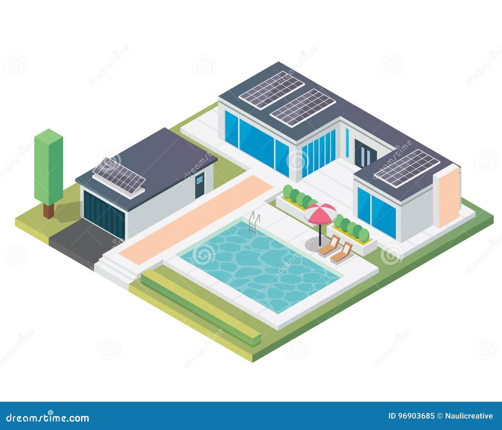 Het moderne Vriendschappelijke Huis van Luxe Isometrische Groene Eco met Zonnepaneel