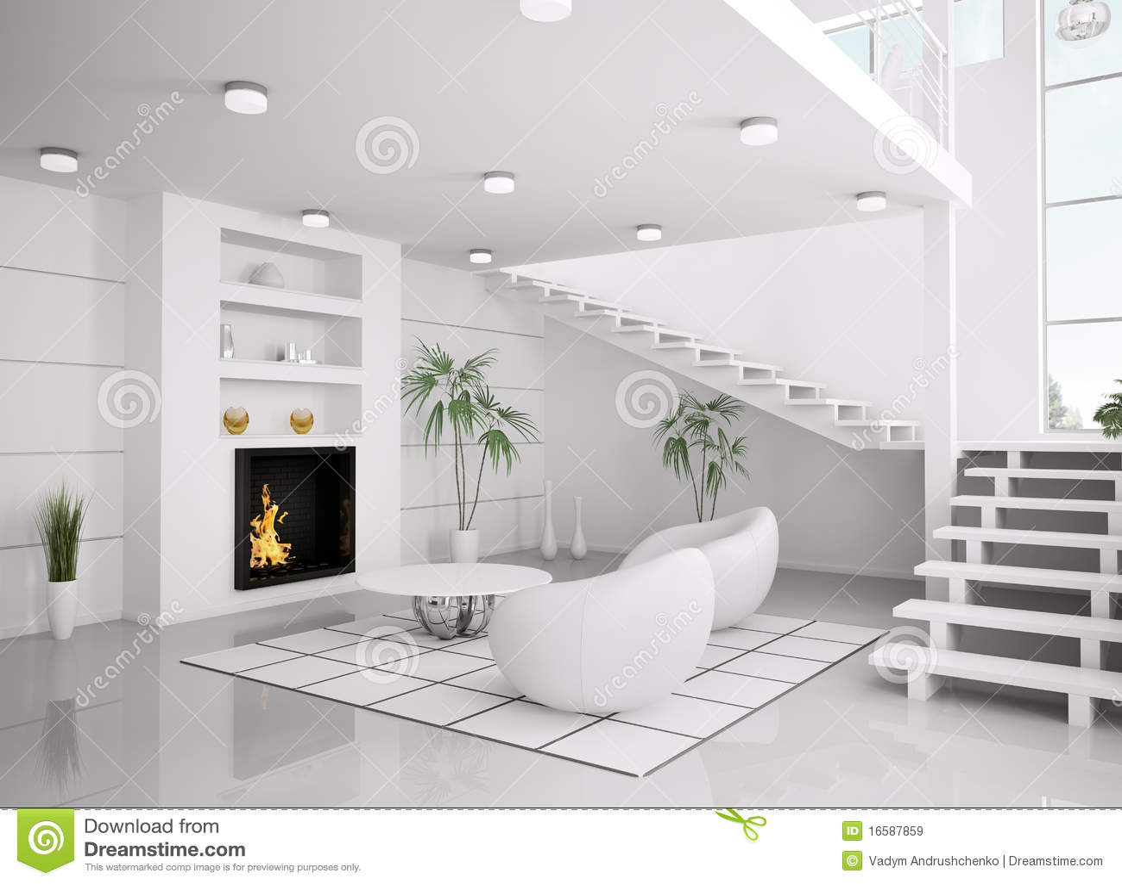 Het moderne witte 3d binnenland van woonkamer geeft terug royalty vrije stock afbeeldingen for Moderne woonkamer