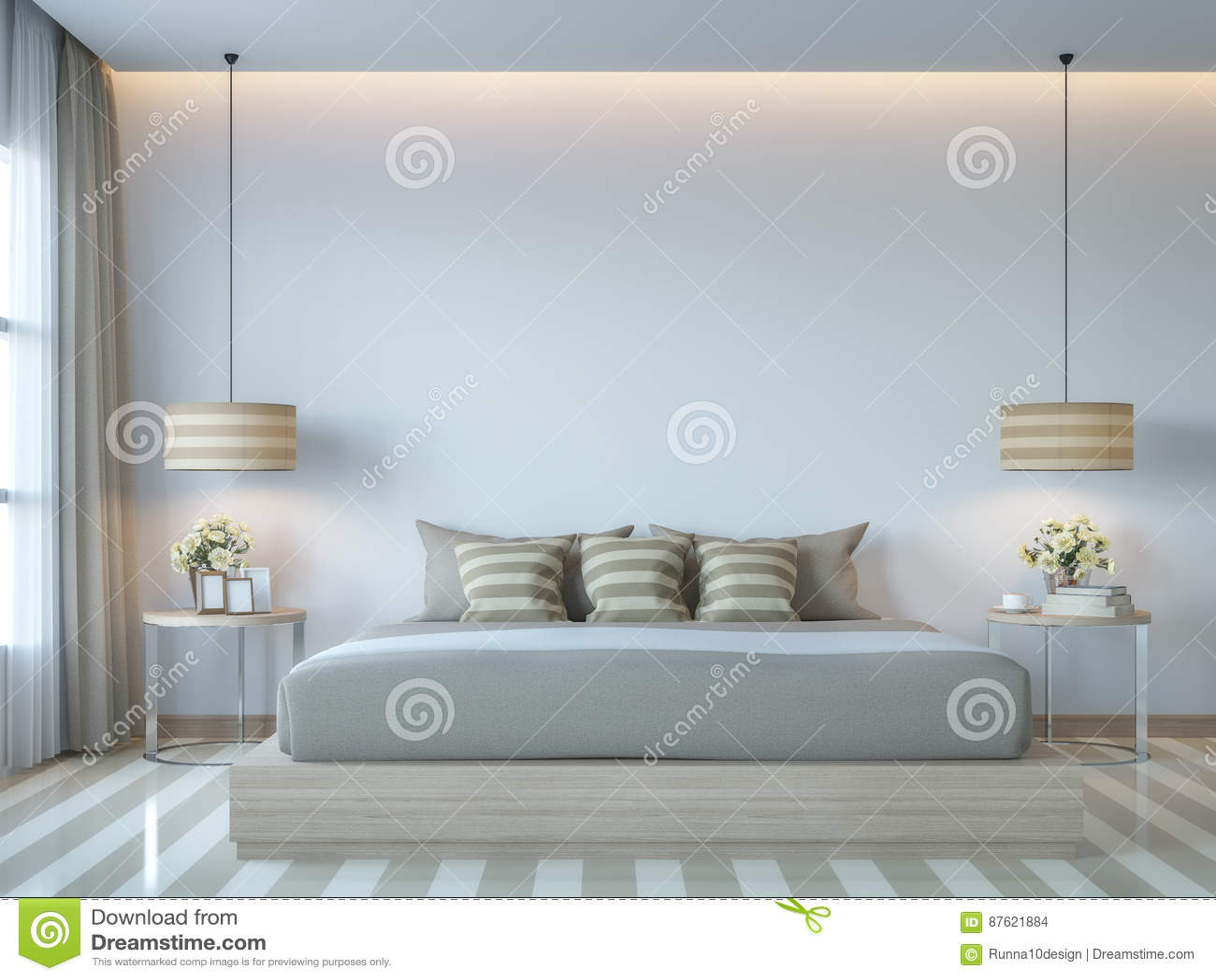 Moderne Witte Slaapkamer : Het moderne witte d teruggevende beeld van de slaapkamer minimale