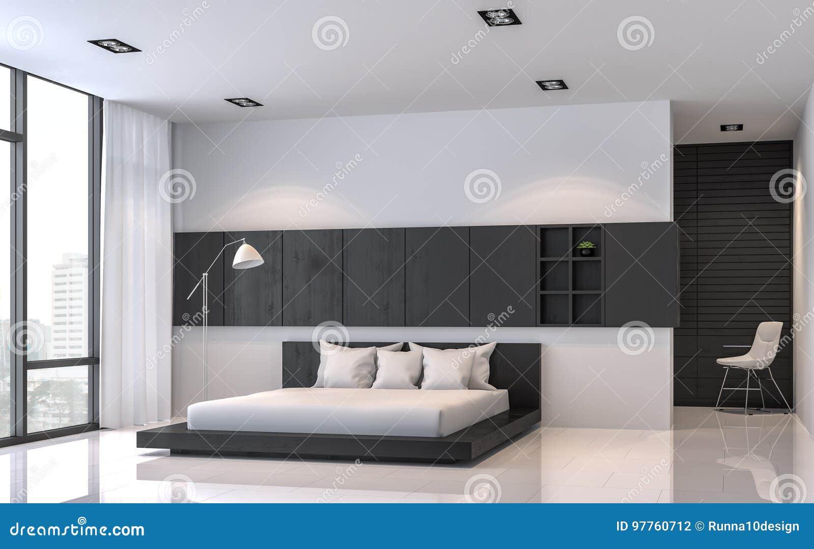 Moderne Witte Slaapkamer : Het moderne zwart witte d teruggevende beeld van de slaapkamer