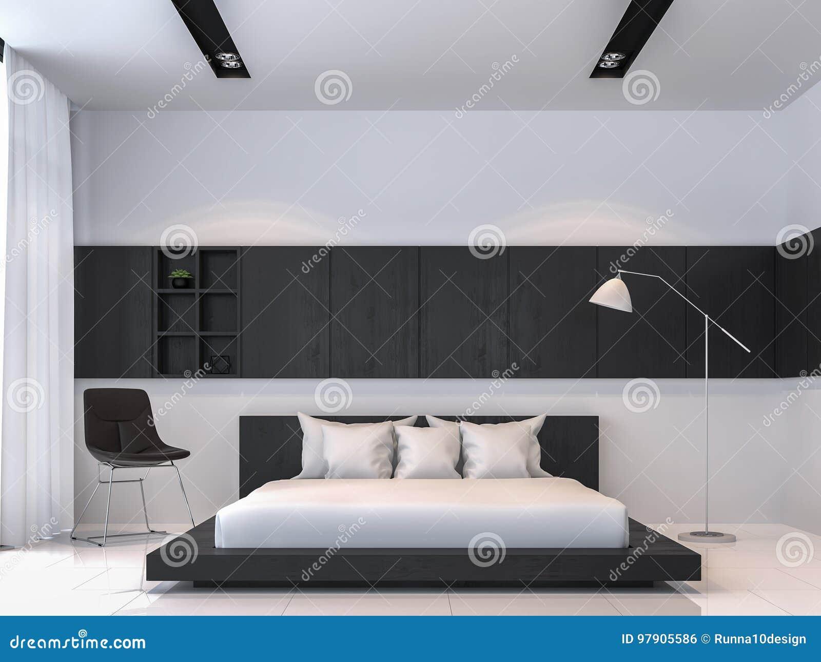 Het moderne zwart witte 3d teruggevende beeld van de slaapkamer