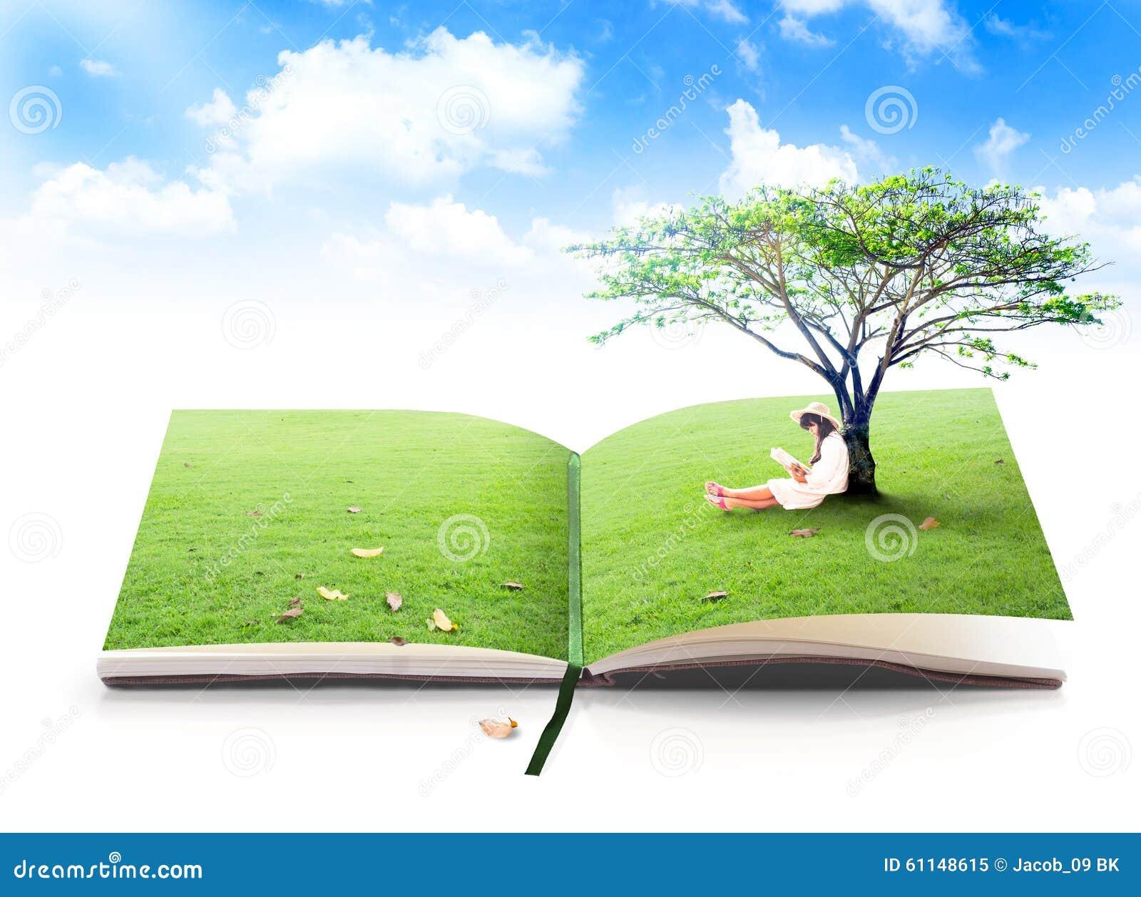 Het mooie Aziatische boek van de meisjeslezing van aard