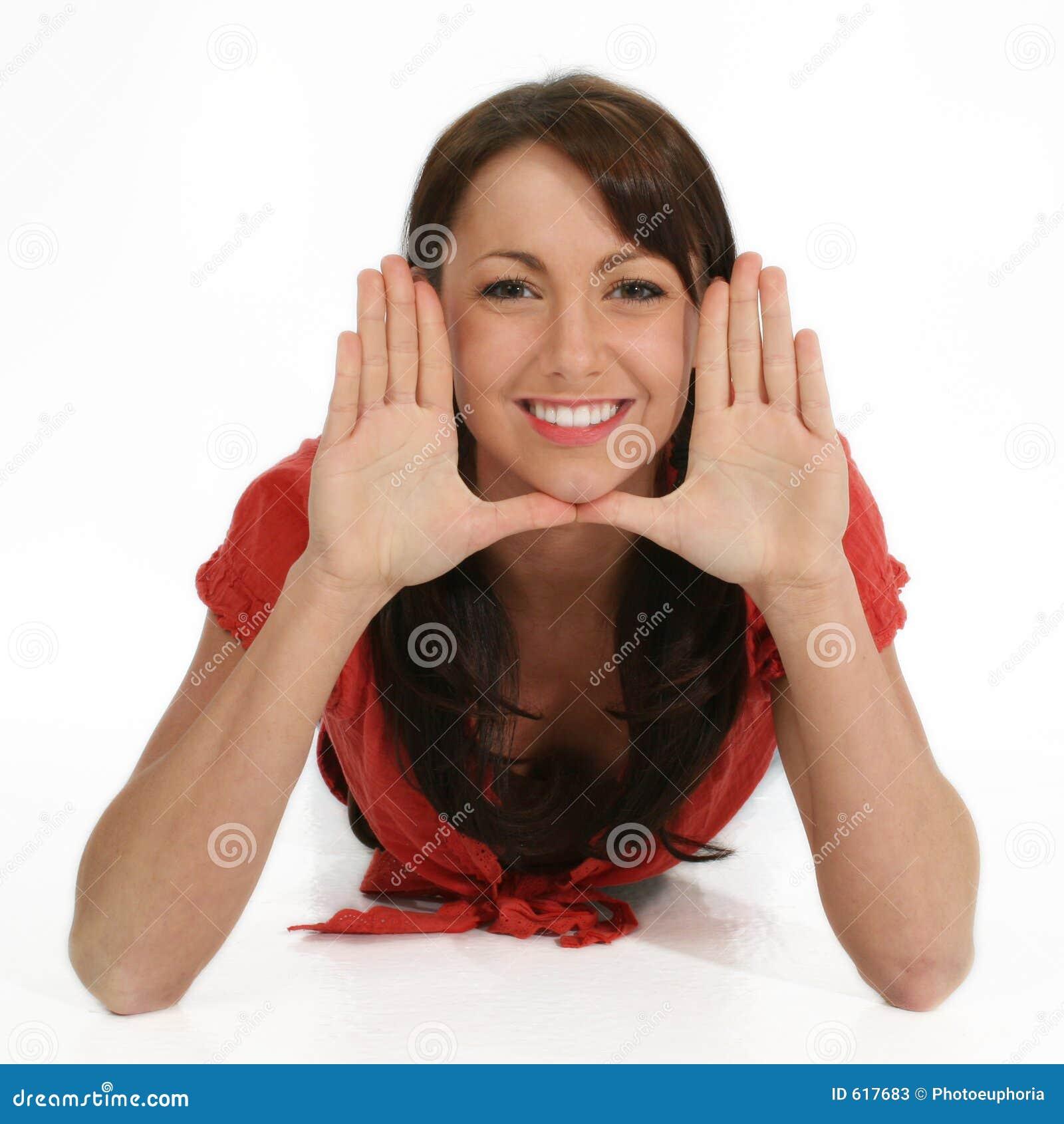 Het mooie Frame Gezicht van de Vrouw met Handen