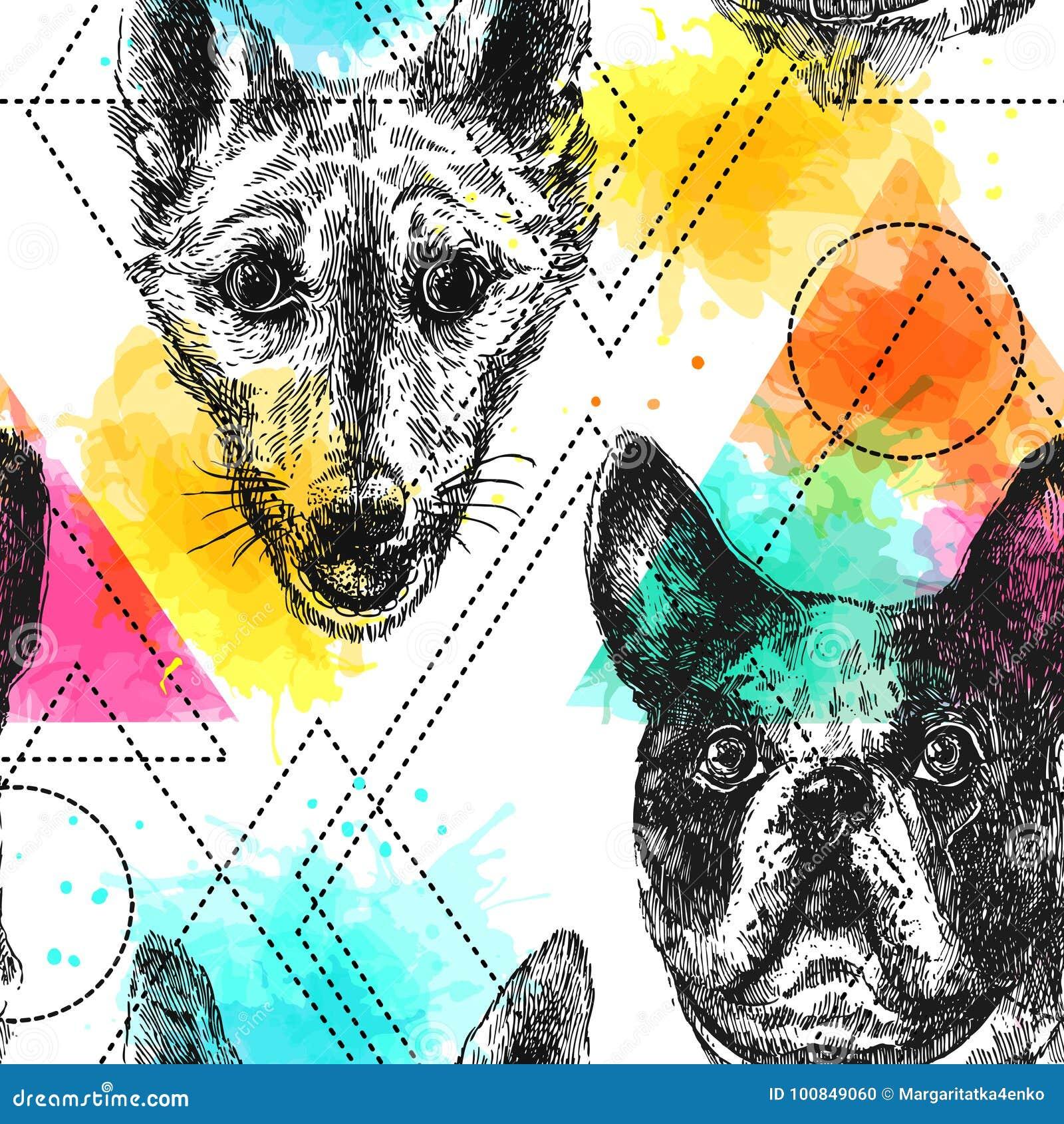 Het mooie hand getrokken vector naadloze patroon schetsen van hond