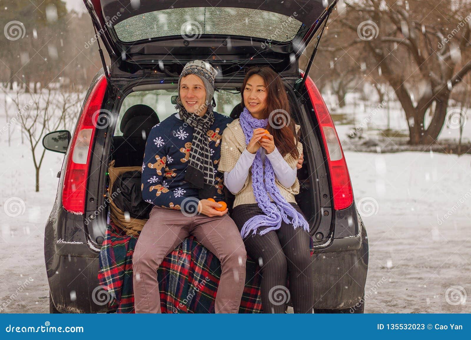 Het mooie internationale paar ontspannen in aard in de winter Romantische vergadering van een paar in liefde in de sneeuw Het jon