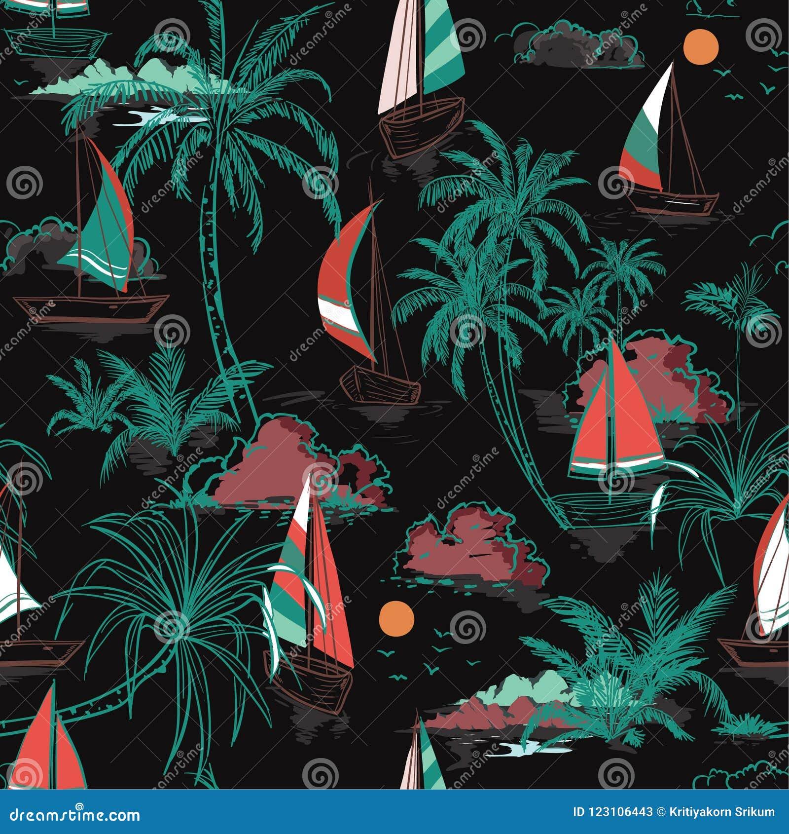 Het mooie Kleurrijke eiland van het de Zomer Mooie naadloze patroon met