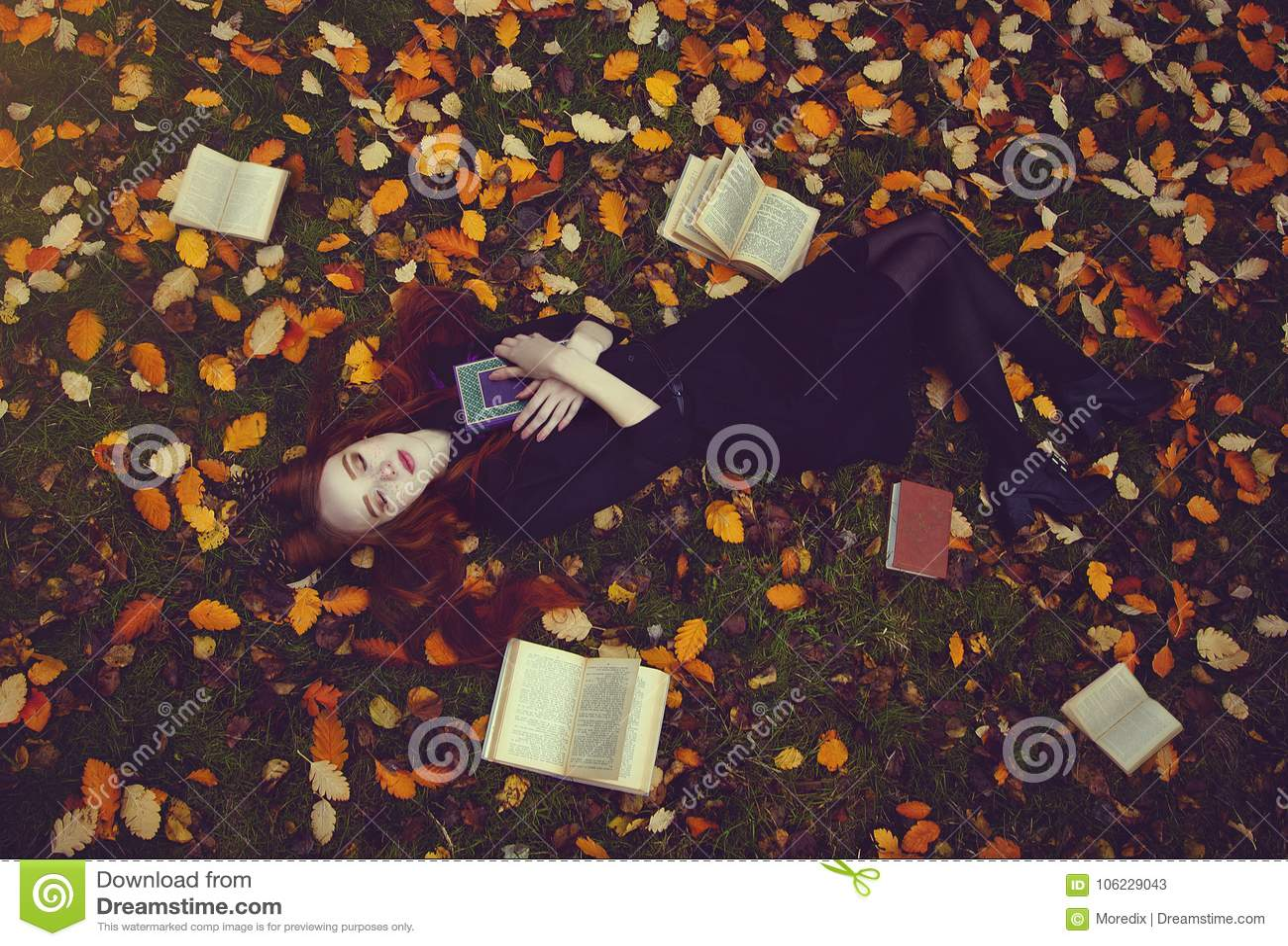 Het mooie roodharige meisje met boeken ligt op het gras in een de herfst bos, hoogste mening Autumn Fairytale photoshoot