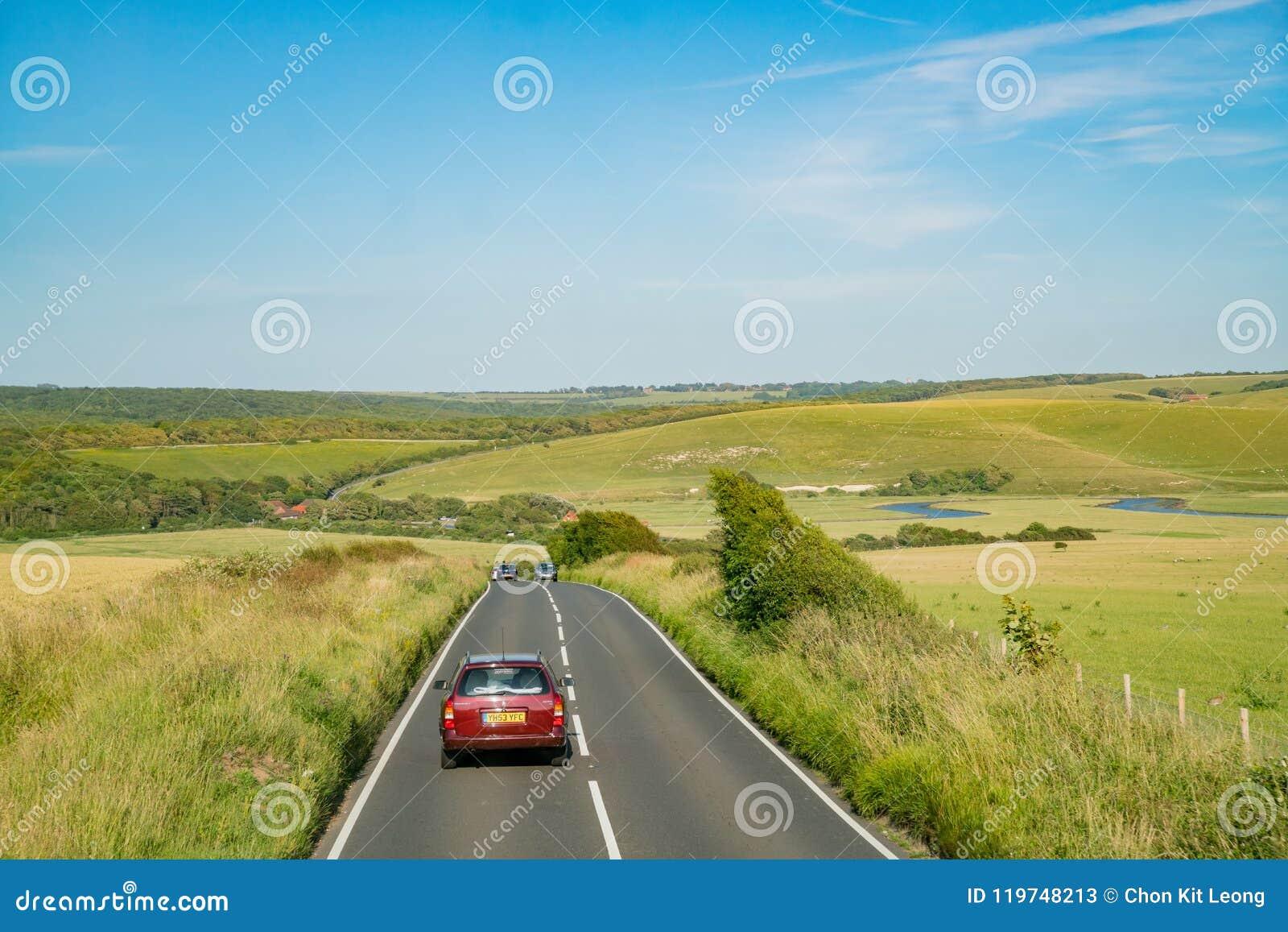 Het mooie zijaanzicht van het land rond West-Sussex