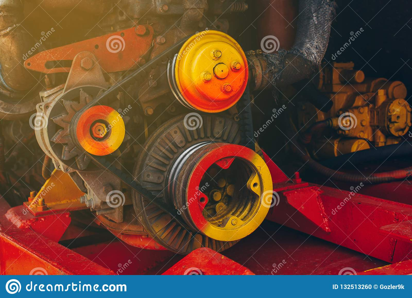 Het motormechanisme maaidorsers