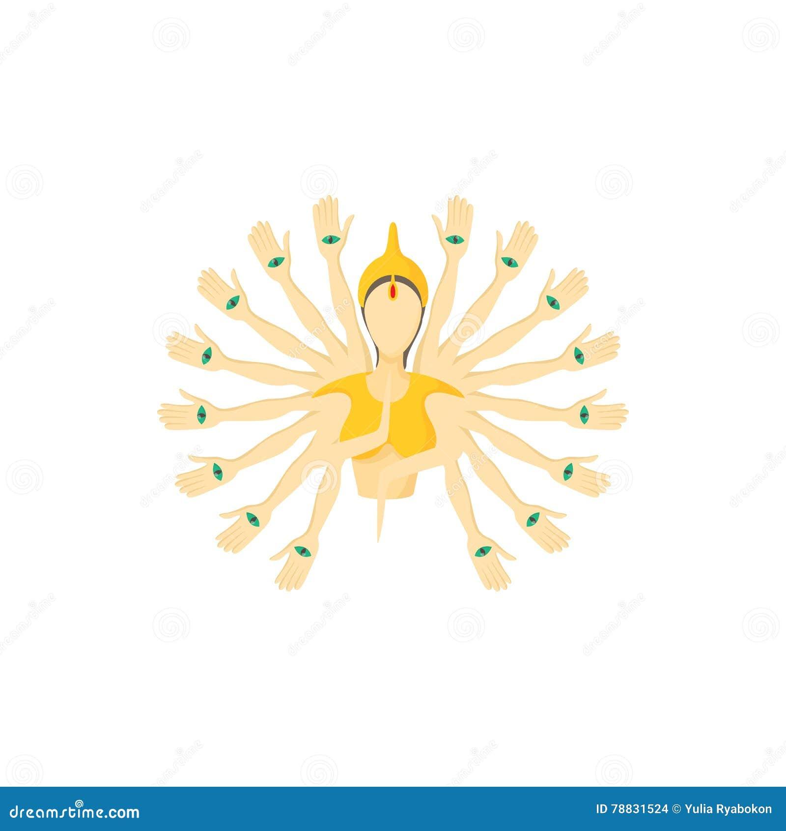 Het multi bewapende pictogram van Boedha, beeldverhaalstijl