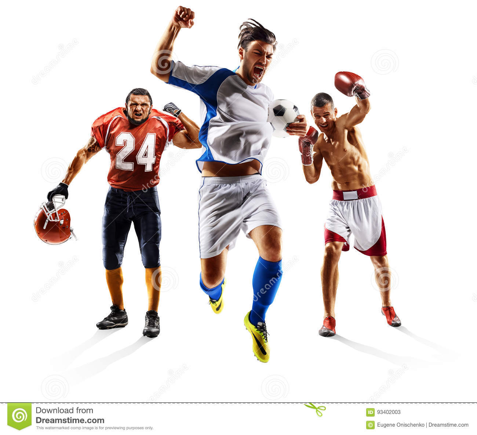 Het multi het voetbal Amerikaanse voetbal van de sportcollage in dozen doen