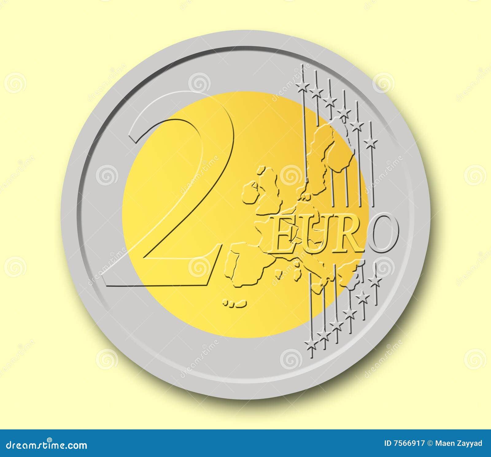 Het muntstuk van 2 euro stock illustratie illustratie - Stock piastrelle 2 euro ...