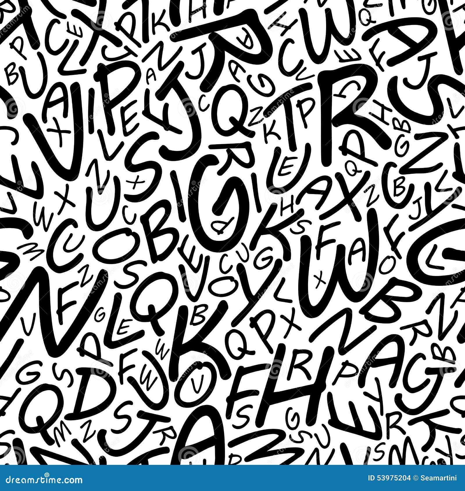 Het naadloze alfabetpatroon in a cartooned doopvont